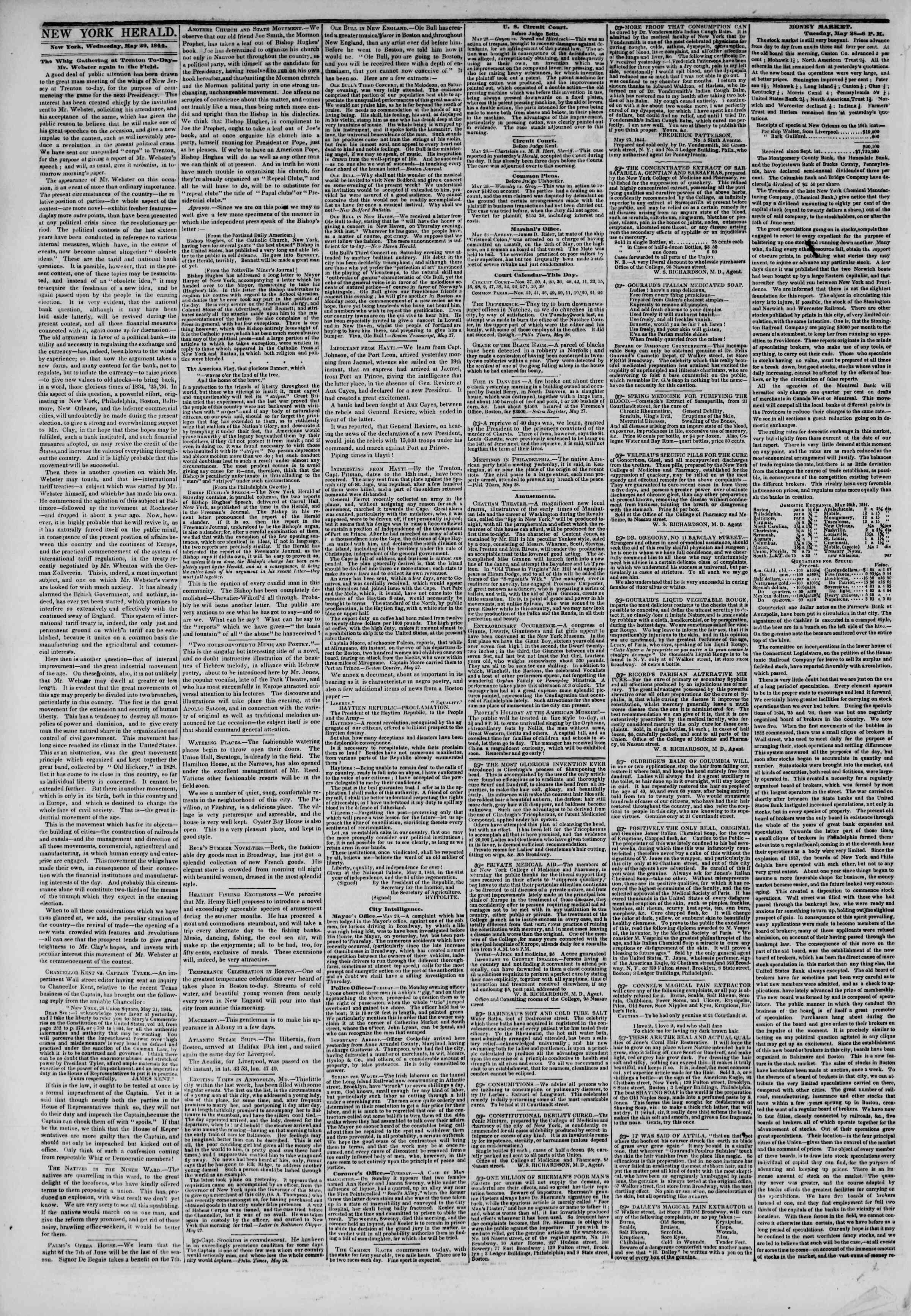 May 29, 1844 Tarihli The New York Herald Gazetesi Sayfa 2