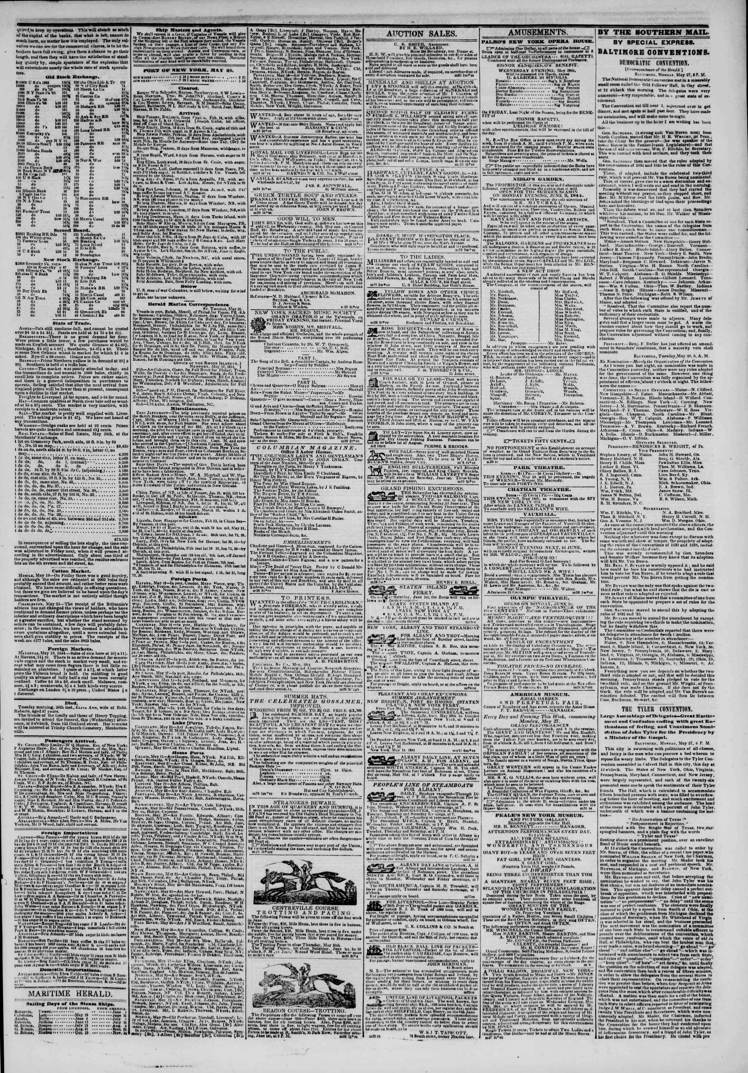 May 29, 1844 Tarihli The New York Herald Gazetesi Sayfa 3