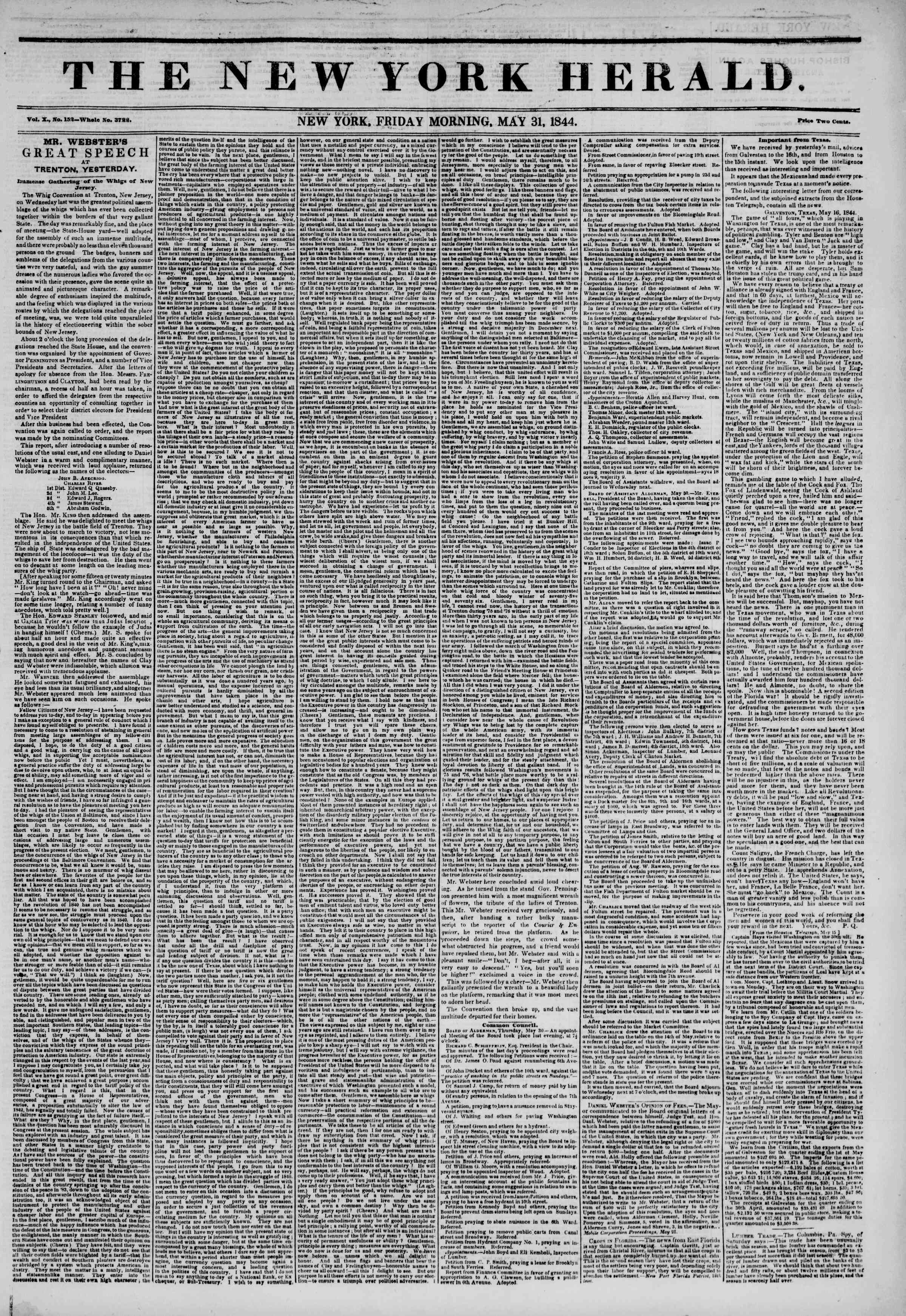 Newspaper of The New York Herald dated May 31, 1844 Page 1