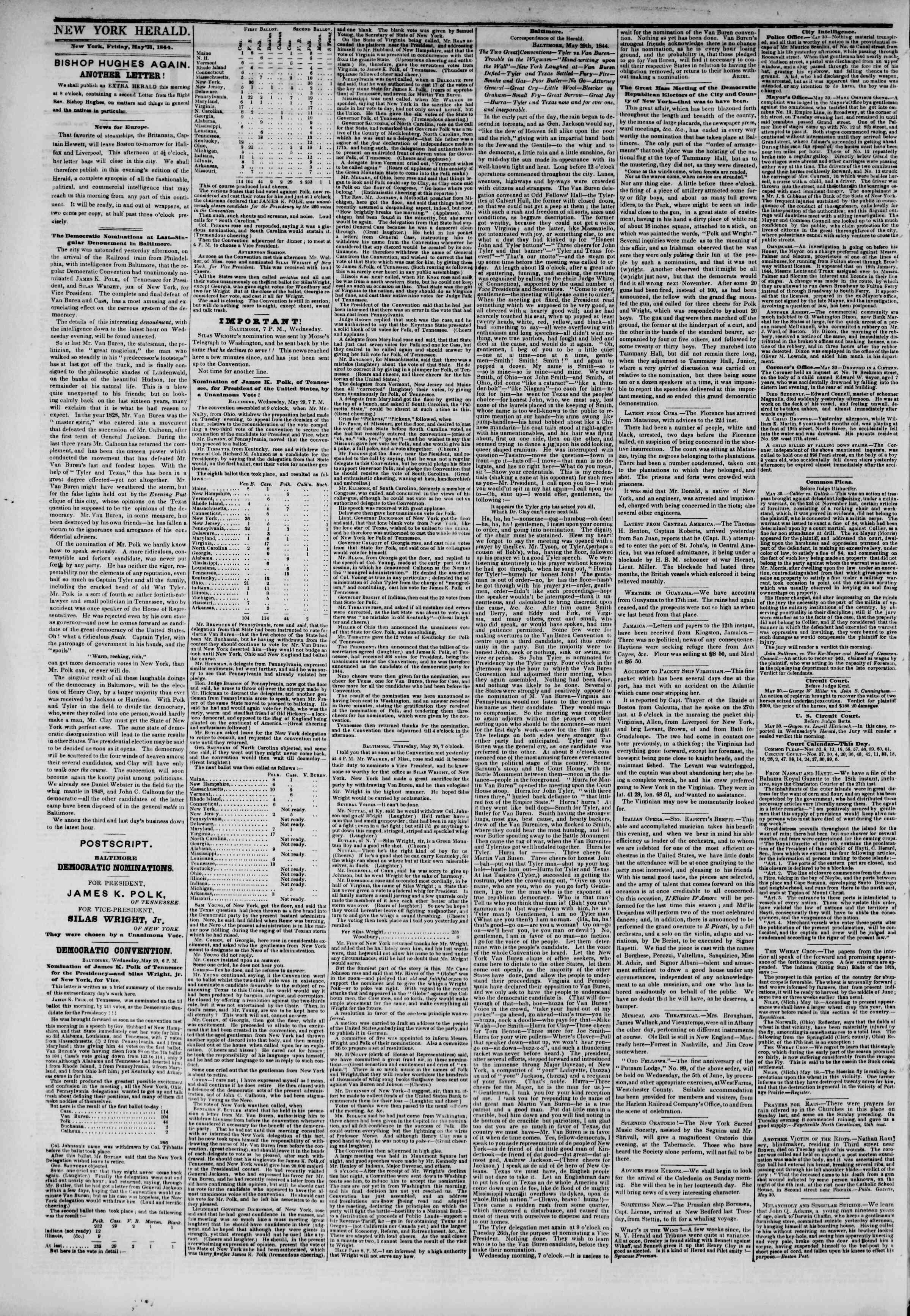 May 31, 1844 Tarihli The New York Herald Gazetesi Sayfa 2