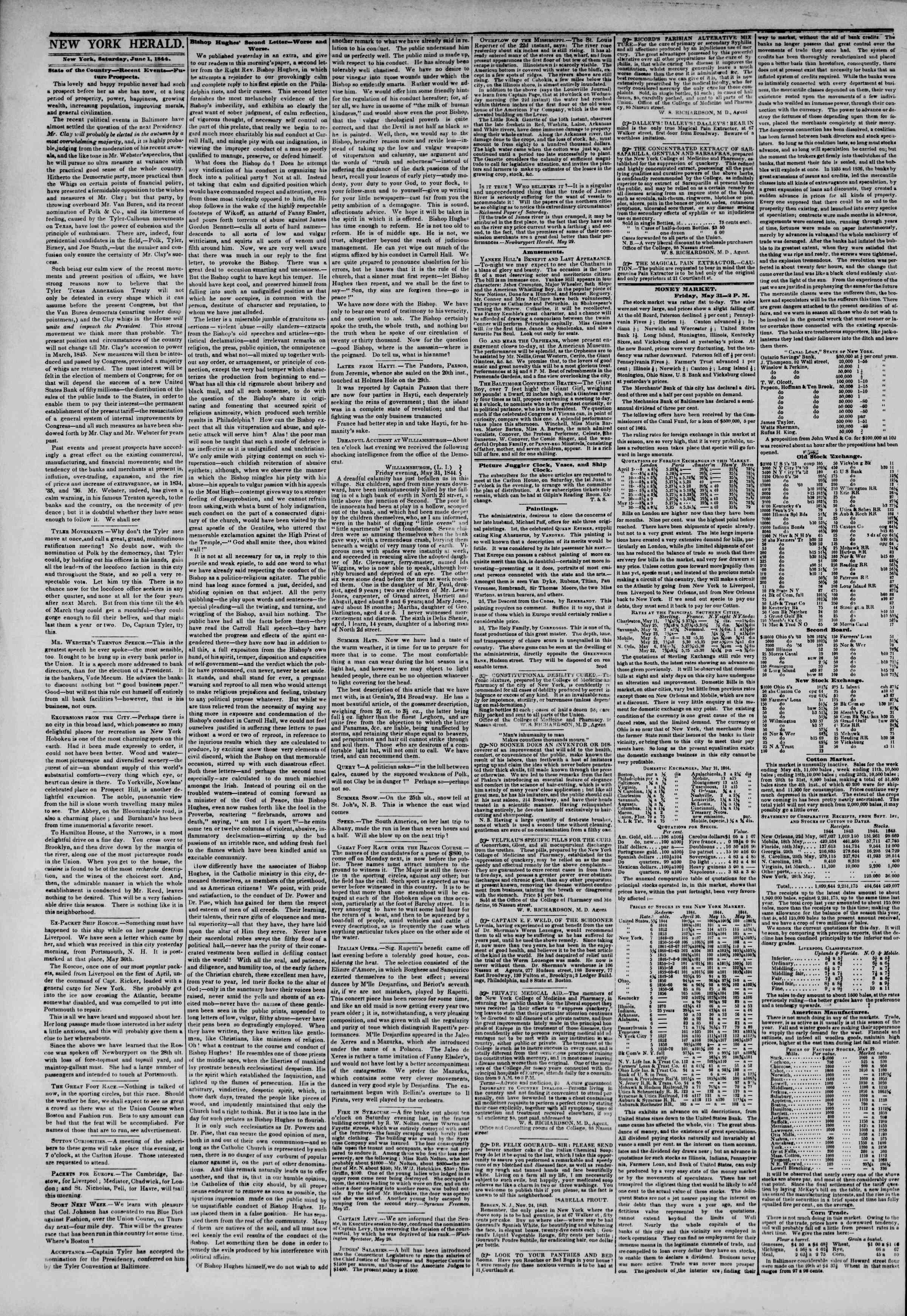 June 1, 1844 Tarihli The New York Herald Gazetesi Sayfa 2