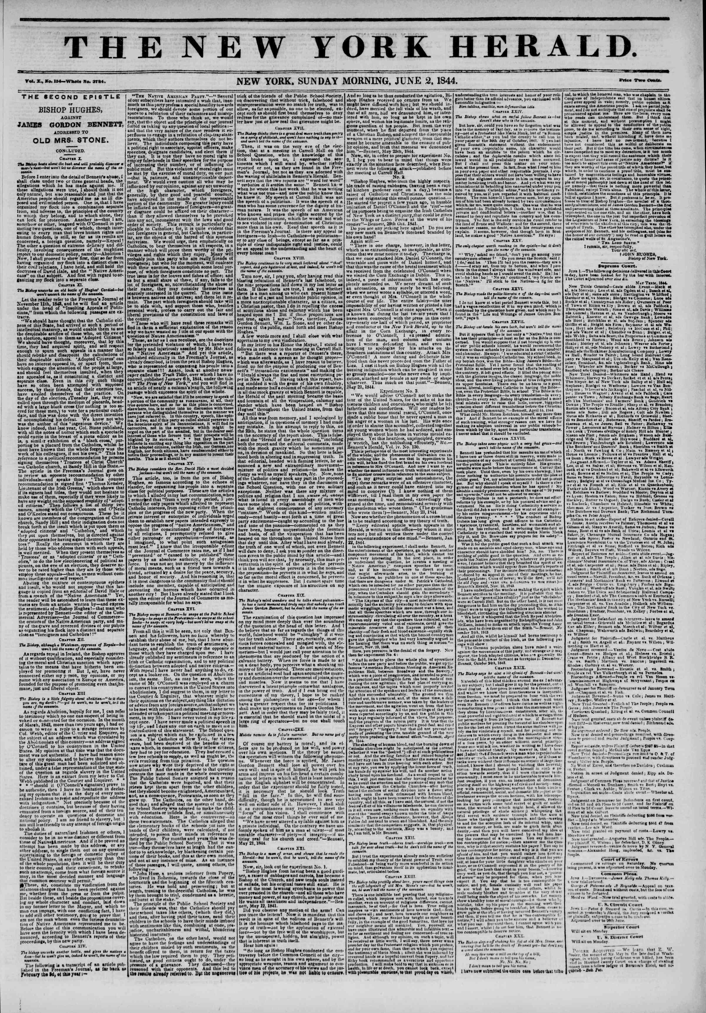 June 2, 1844 Tarihli The New York Herald Gazetesi Sayfa 1