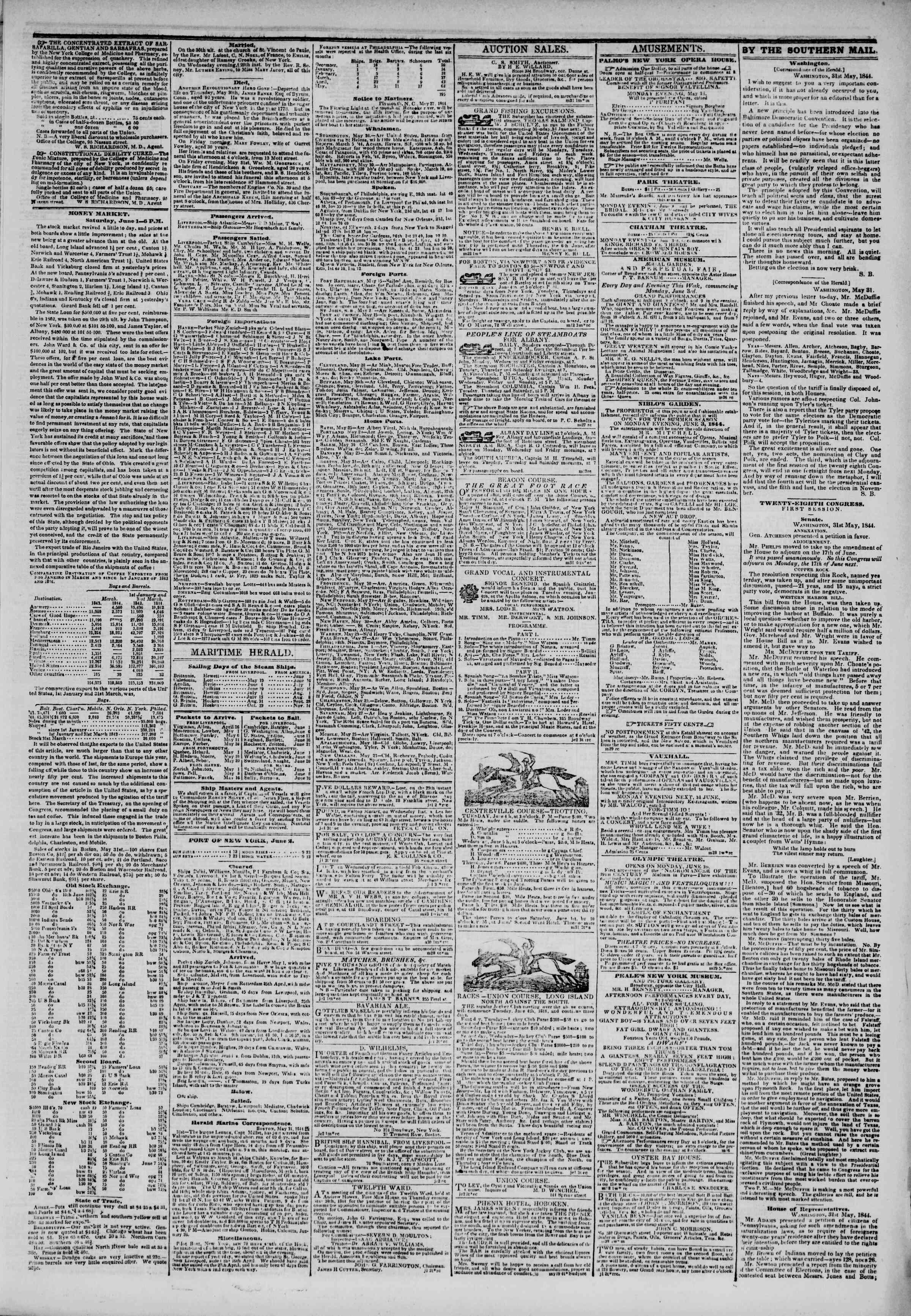 June 2, 1844 Tarihli The New York Herald Gazetesi Sayfa 3