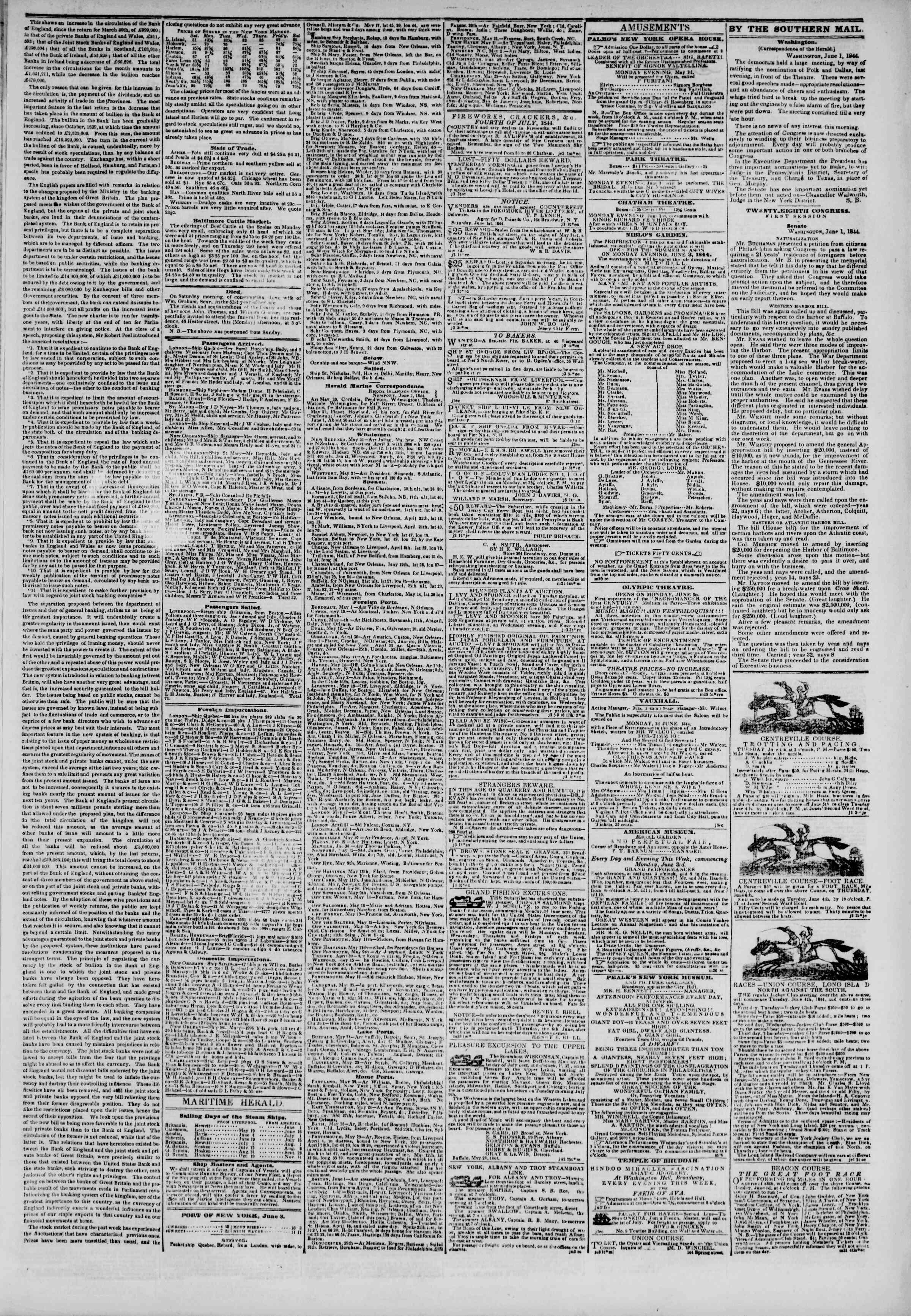 3 Haziran 1844 tarihli The New York Herald Gazetesi Sayfa 3