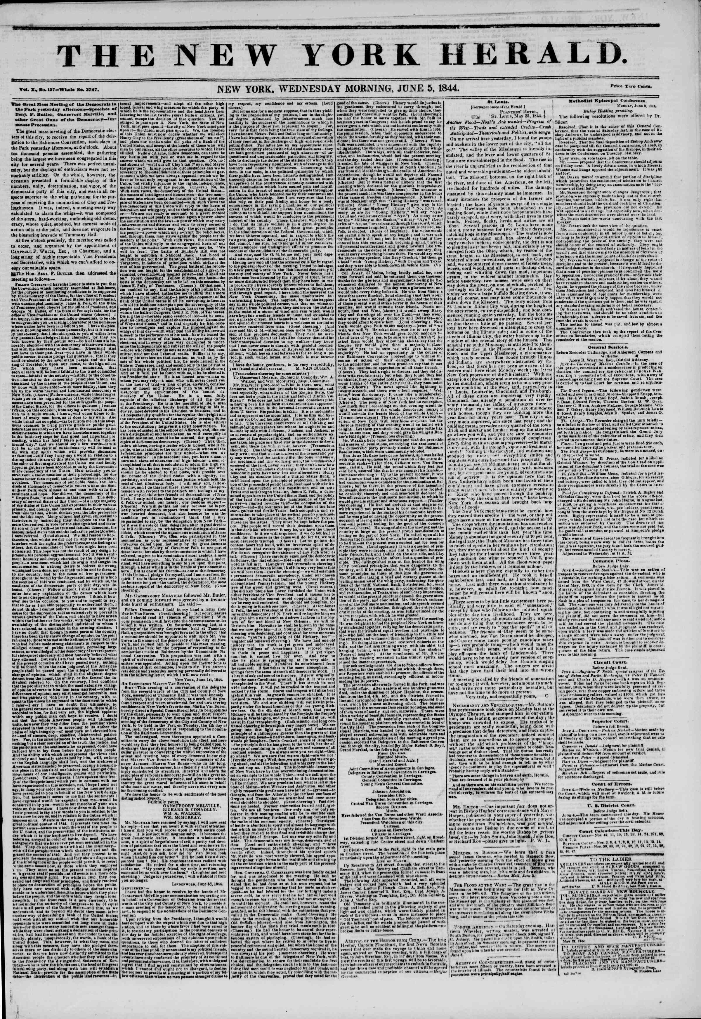 June 5, 1844 Tarihli The New York Herald Gazetesi Sayfa 1