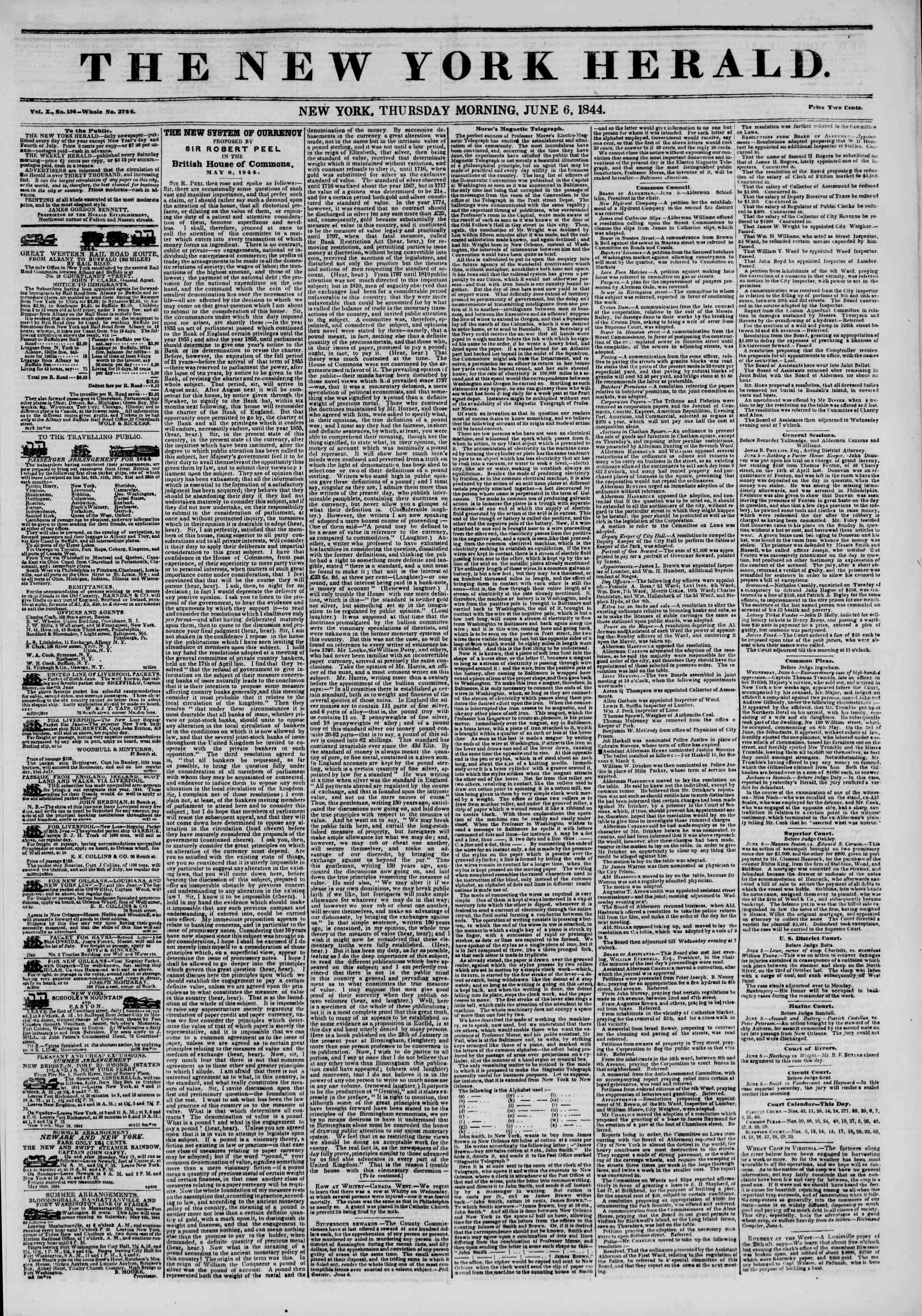 June 6, 1844 Tarihli The New York Herald Gazetesi Sayfa 1