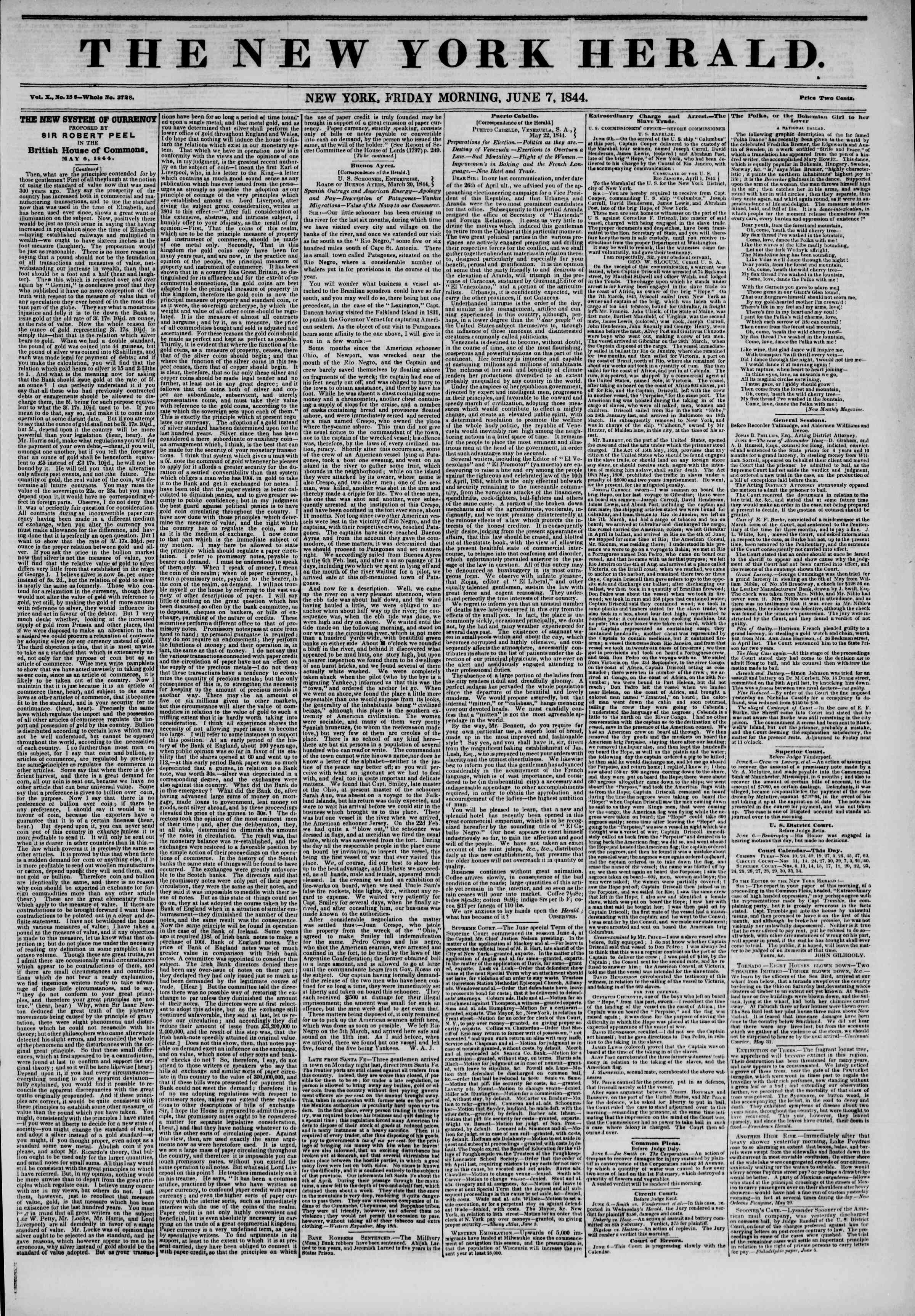 Newspaper of The New York Herald dated June 7, 1844 Page 1