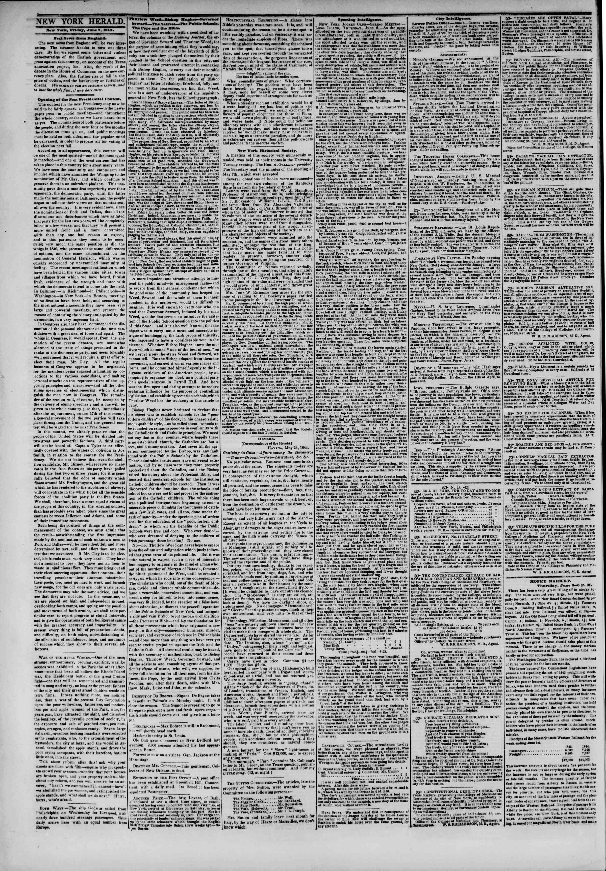 June 7, 1844 Tarihli The New York Herald Gazetesi Sayfa 2