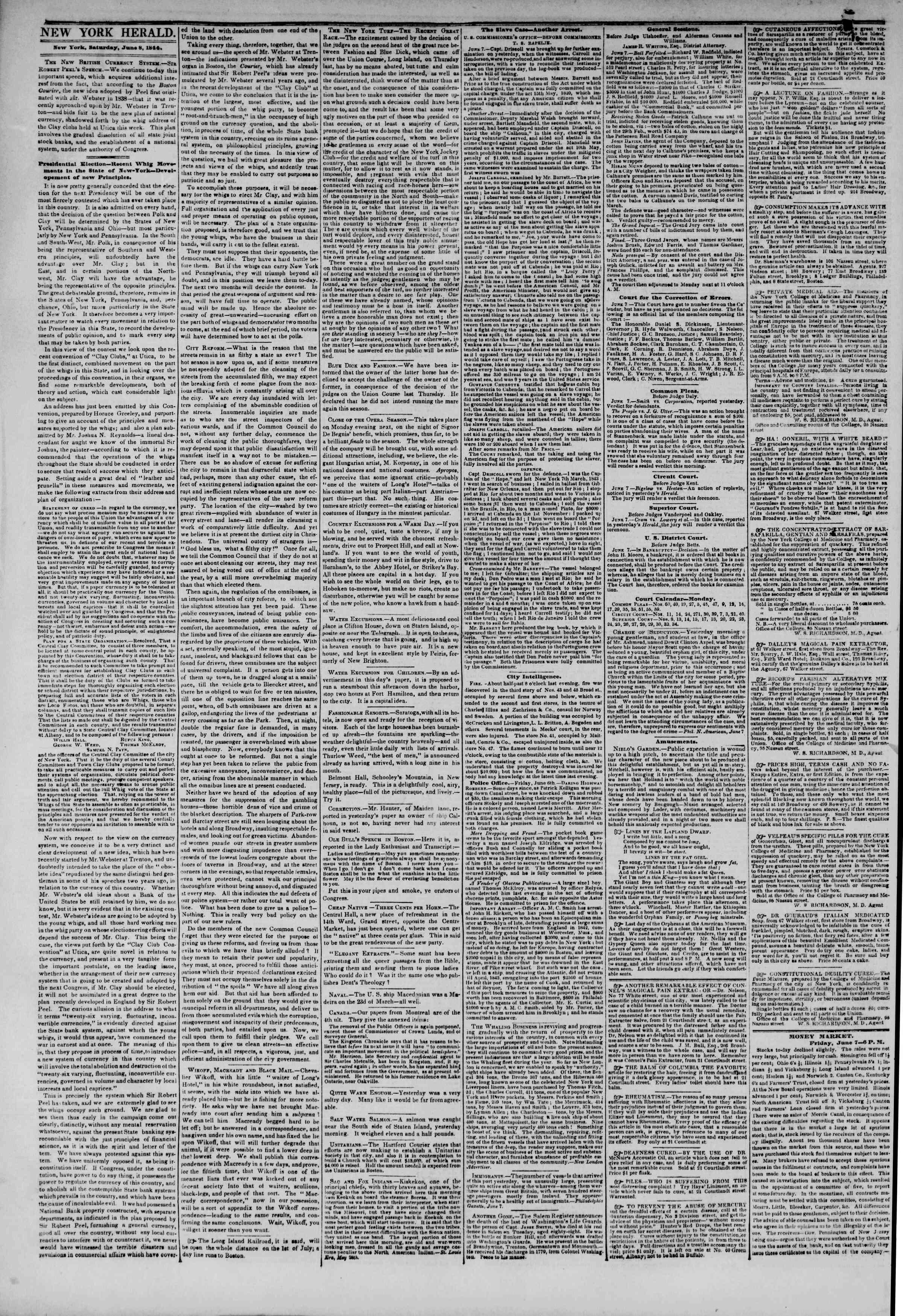 June 8, 1844 Tarihli The New York Herald Gazetesi Sayfa 2
