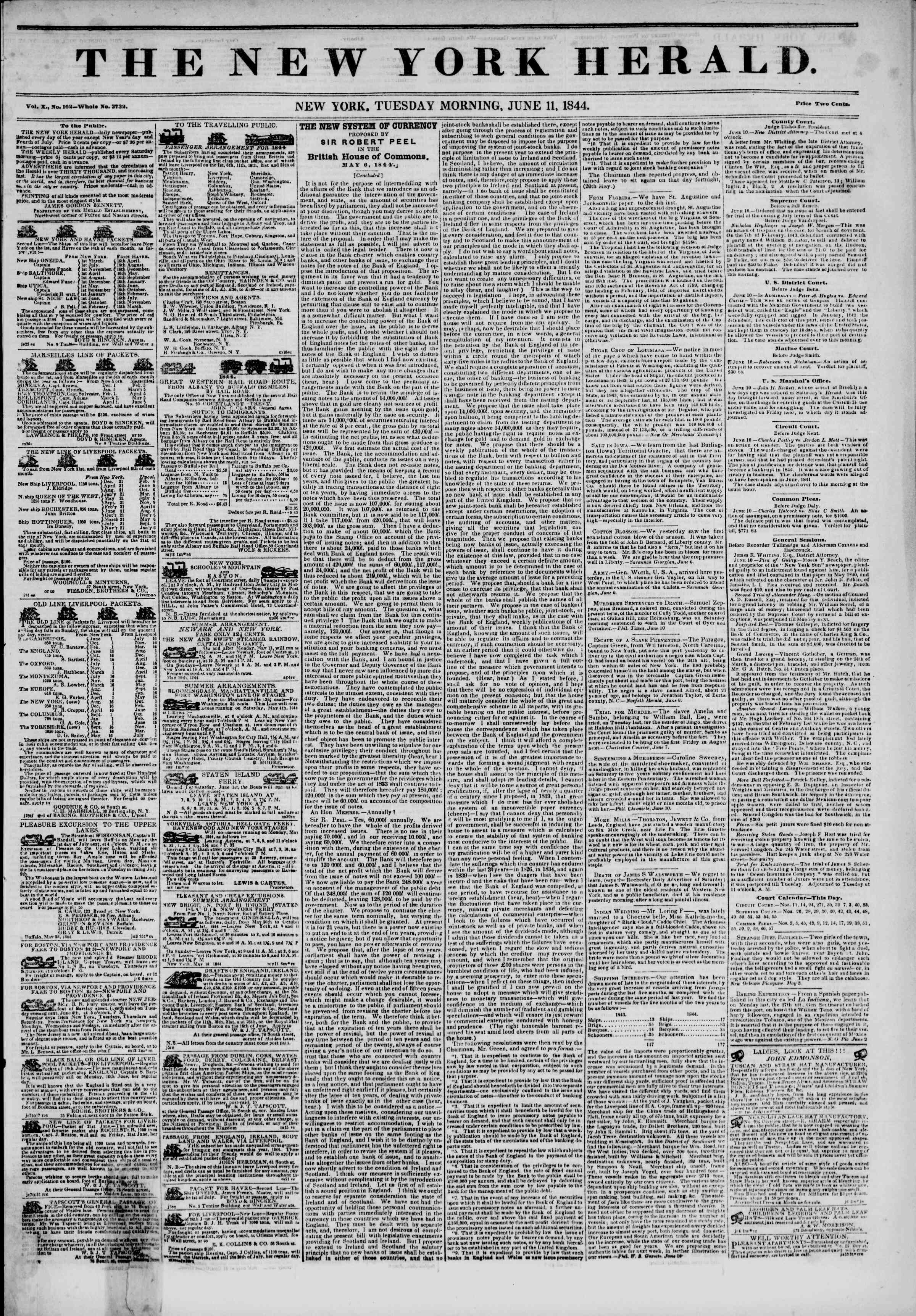 Newspaper of The New York Herald dated June 11, 1844 Page 1
