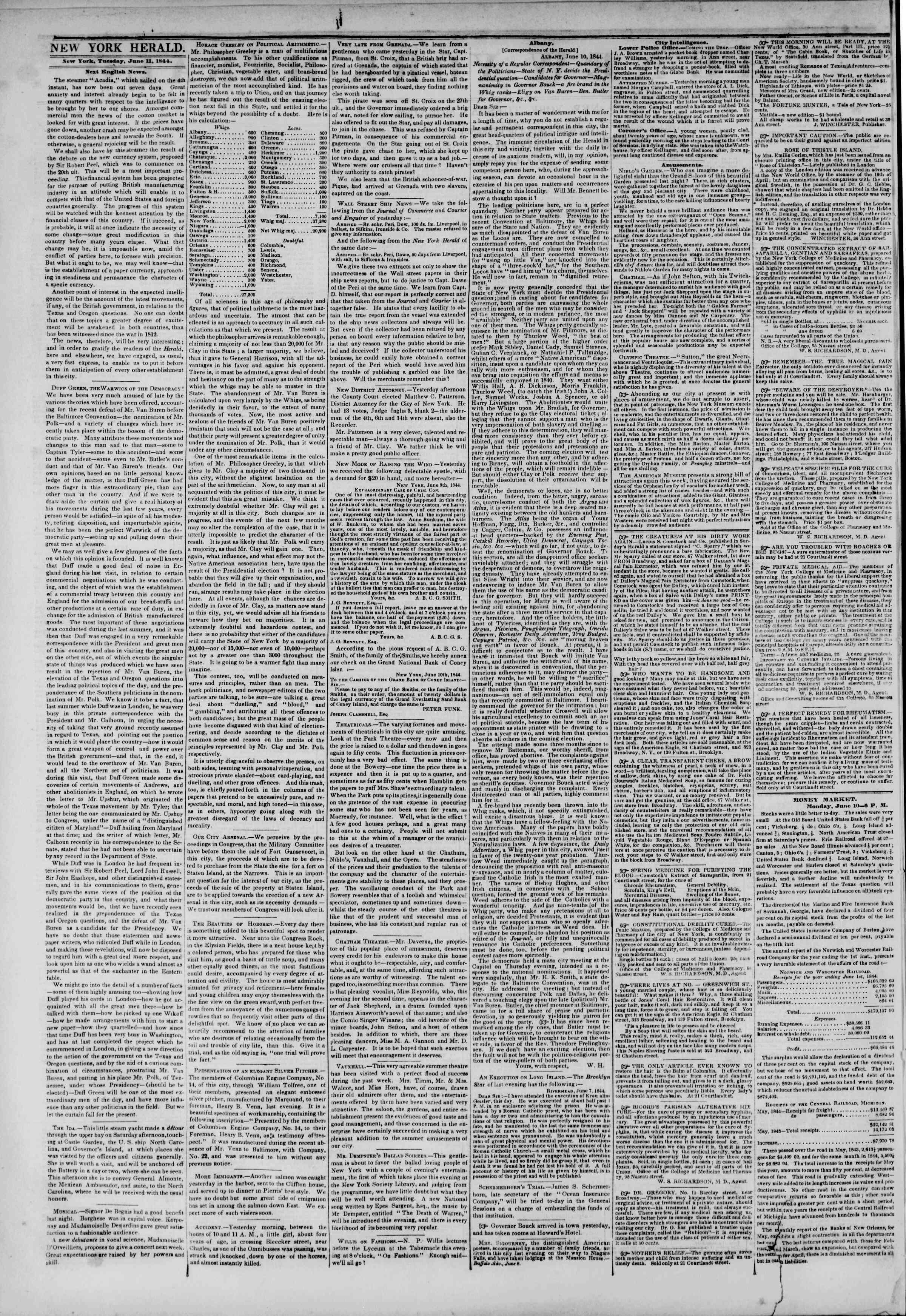 June 11, 1844 Tarihli The New York Herald Gazetesi Sayfa 2