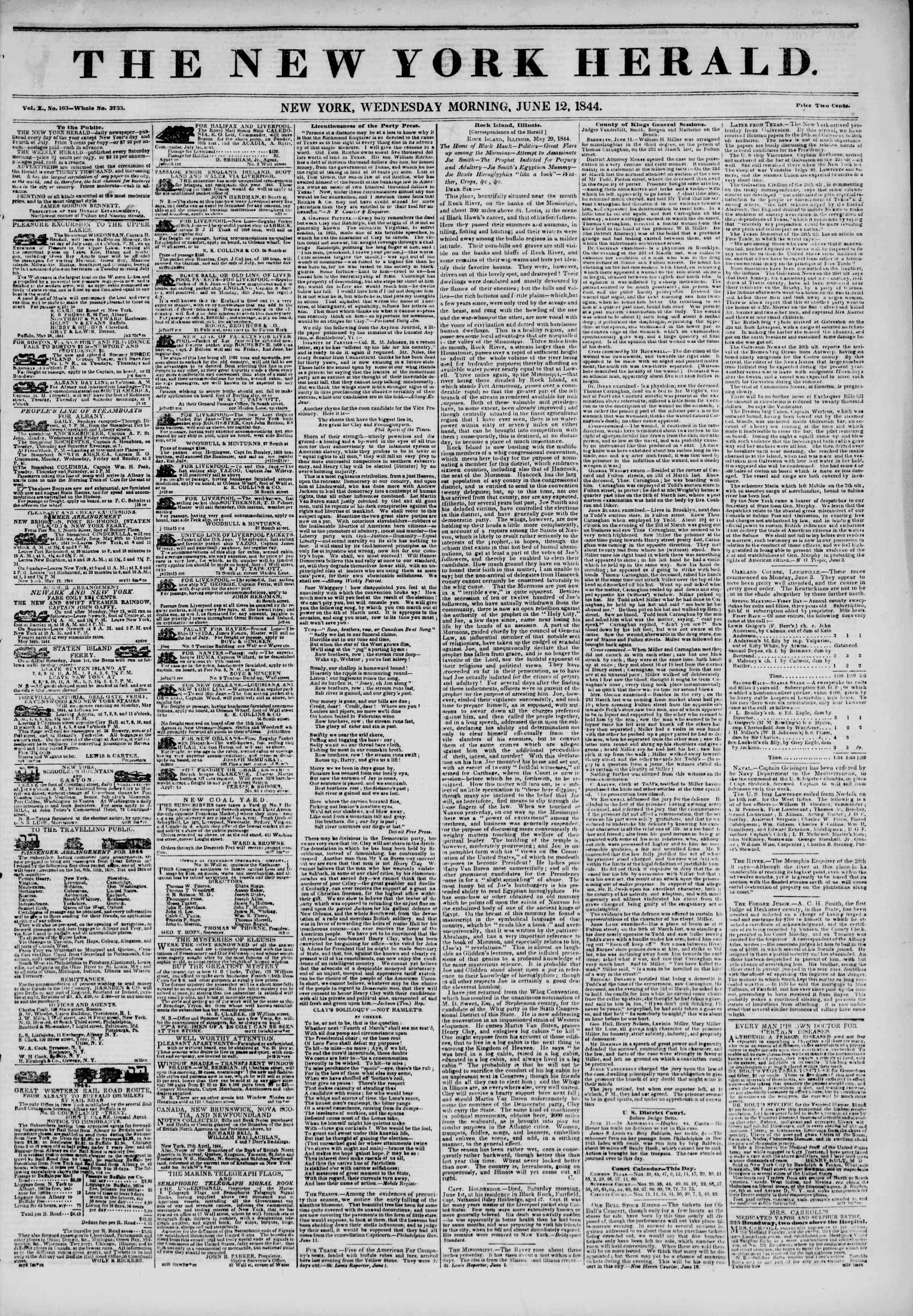 June 12, 1844 Tarihli The New York Herald Gazetesi Sayfa 1