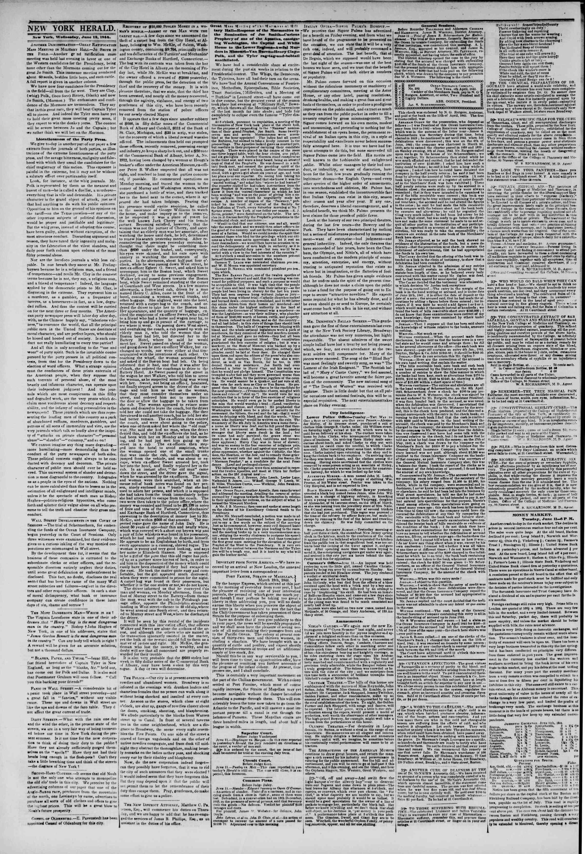 June 12, 1844 Tarihli The New York Herald Gazetesi Sayfa 2