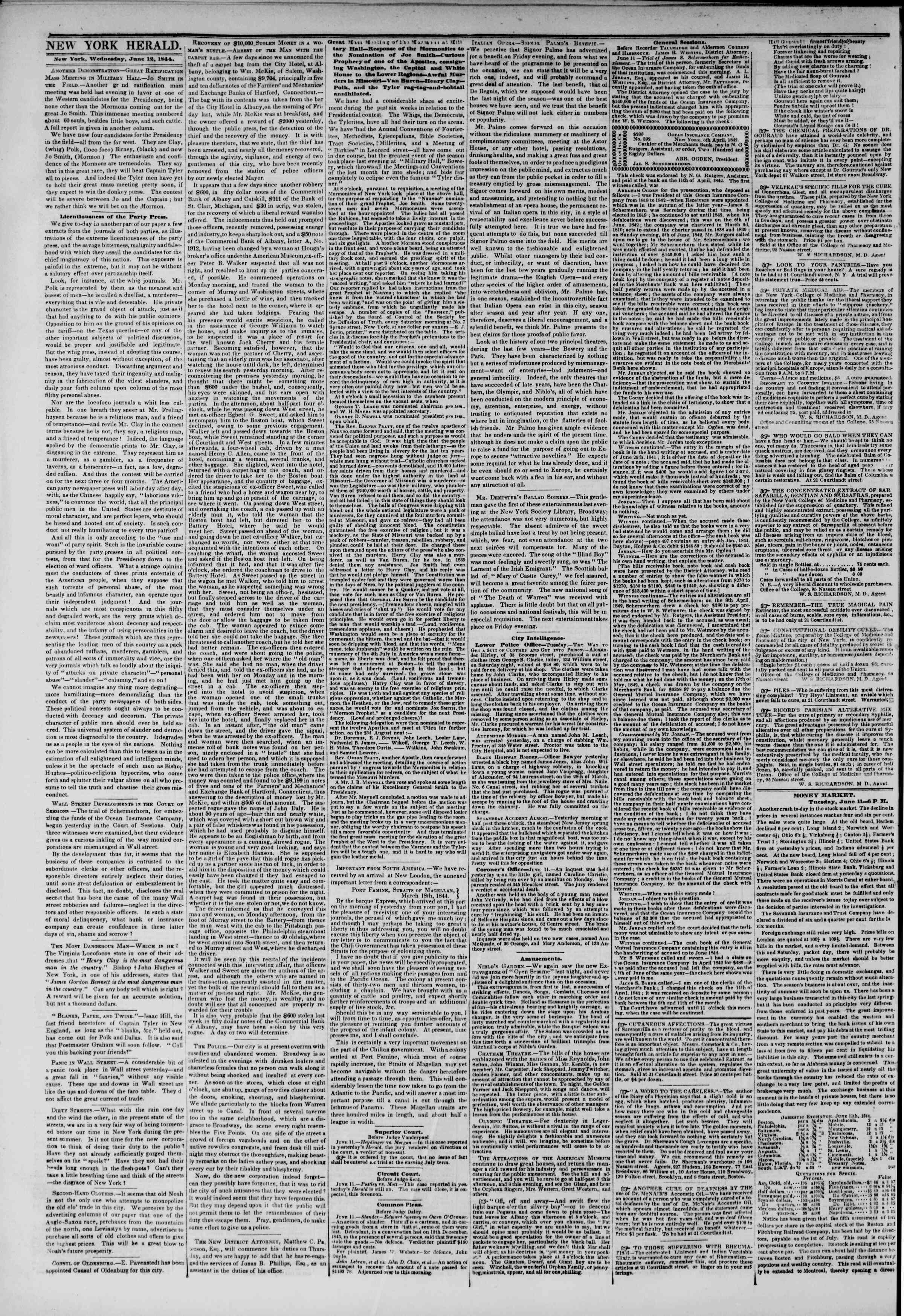 Newspaper of The New York Herald dated June 12, 1844 Page 4