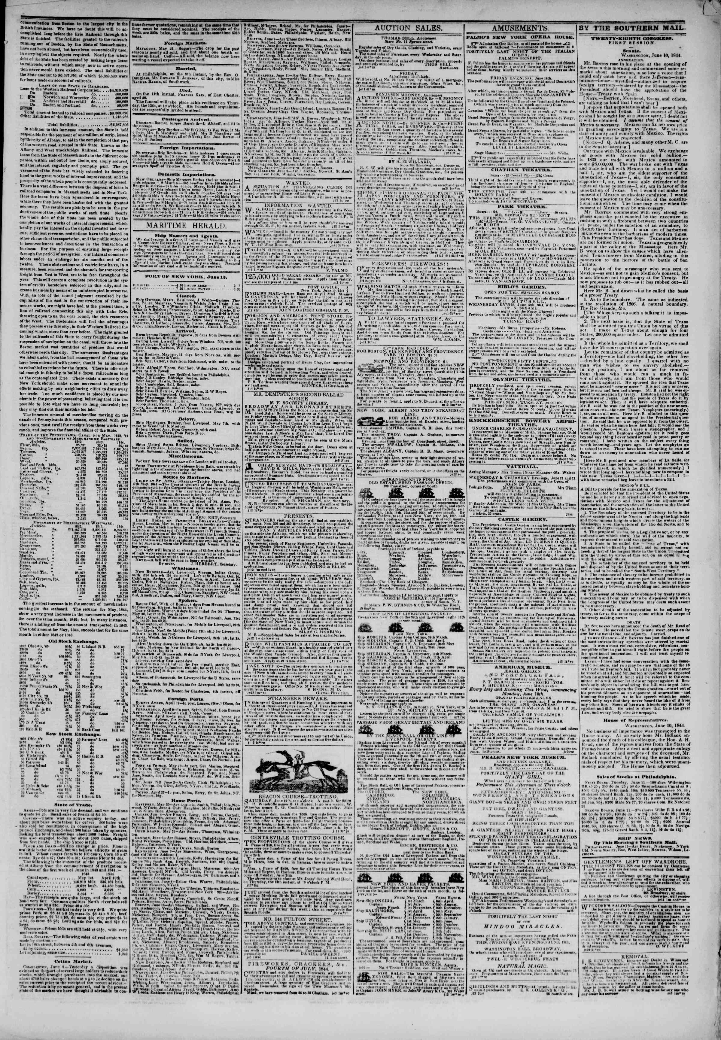 June 12, 1844 Tarihli The New York Herald Gazetesi Sayfa 5
