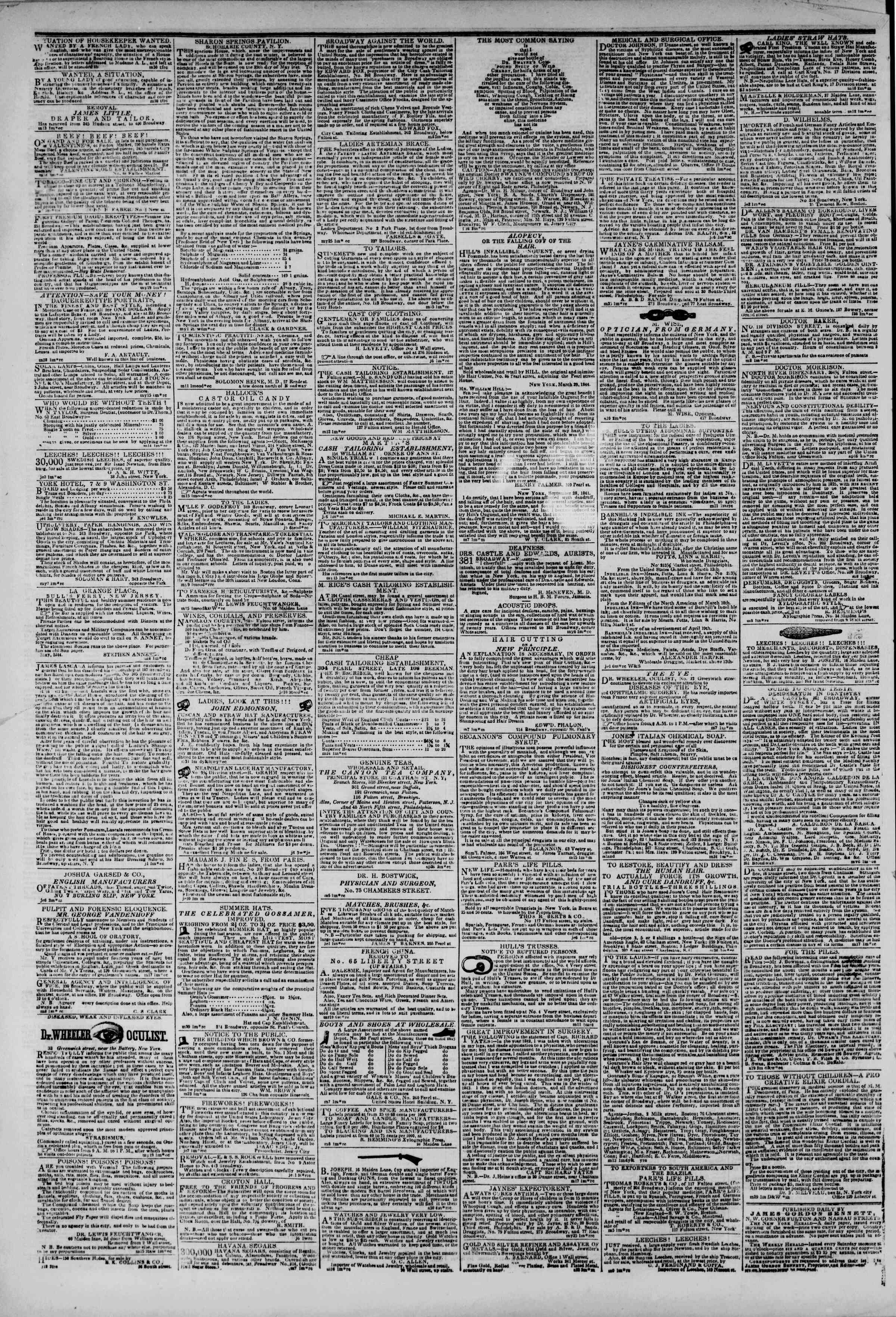 Newspaper of The New York Herald dated June 12, 1844 Page 6