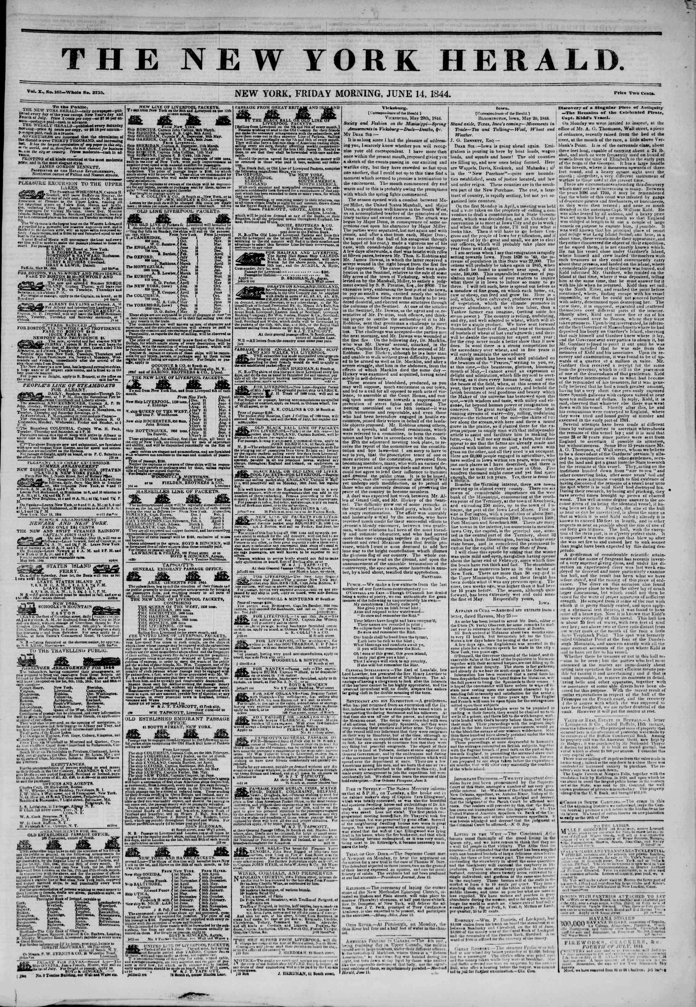 Newspaper of The New York Herald dated June 14, 1844 Page 1