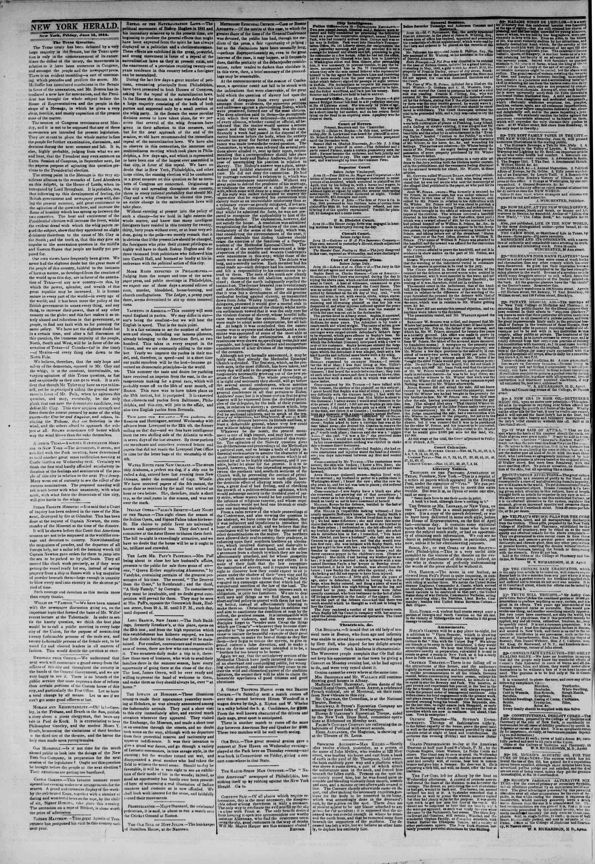 Newspaper of The New York Herald dated June 14, 1844 Page 2