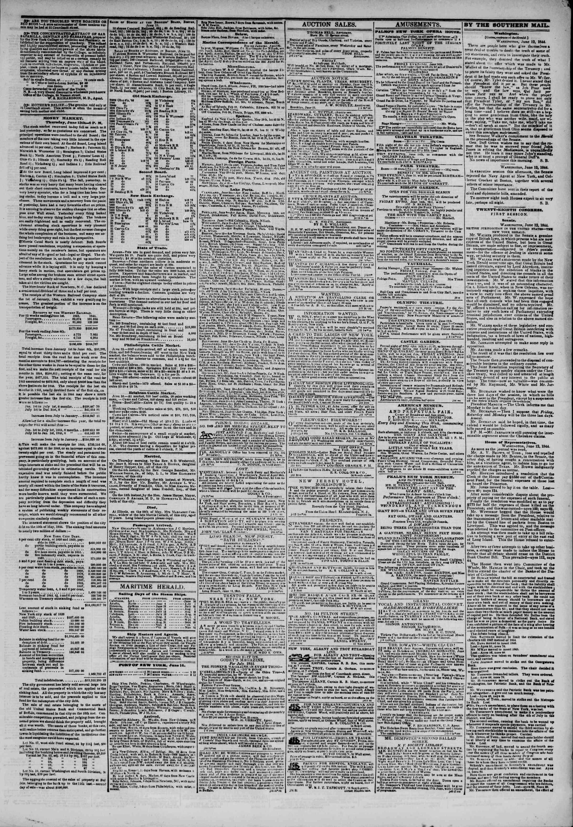 June 14, 1844 Tarihli The New York Herald Gazetesi Sayfa 3