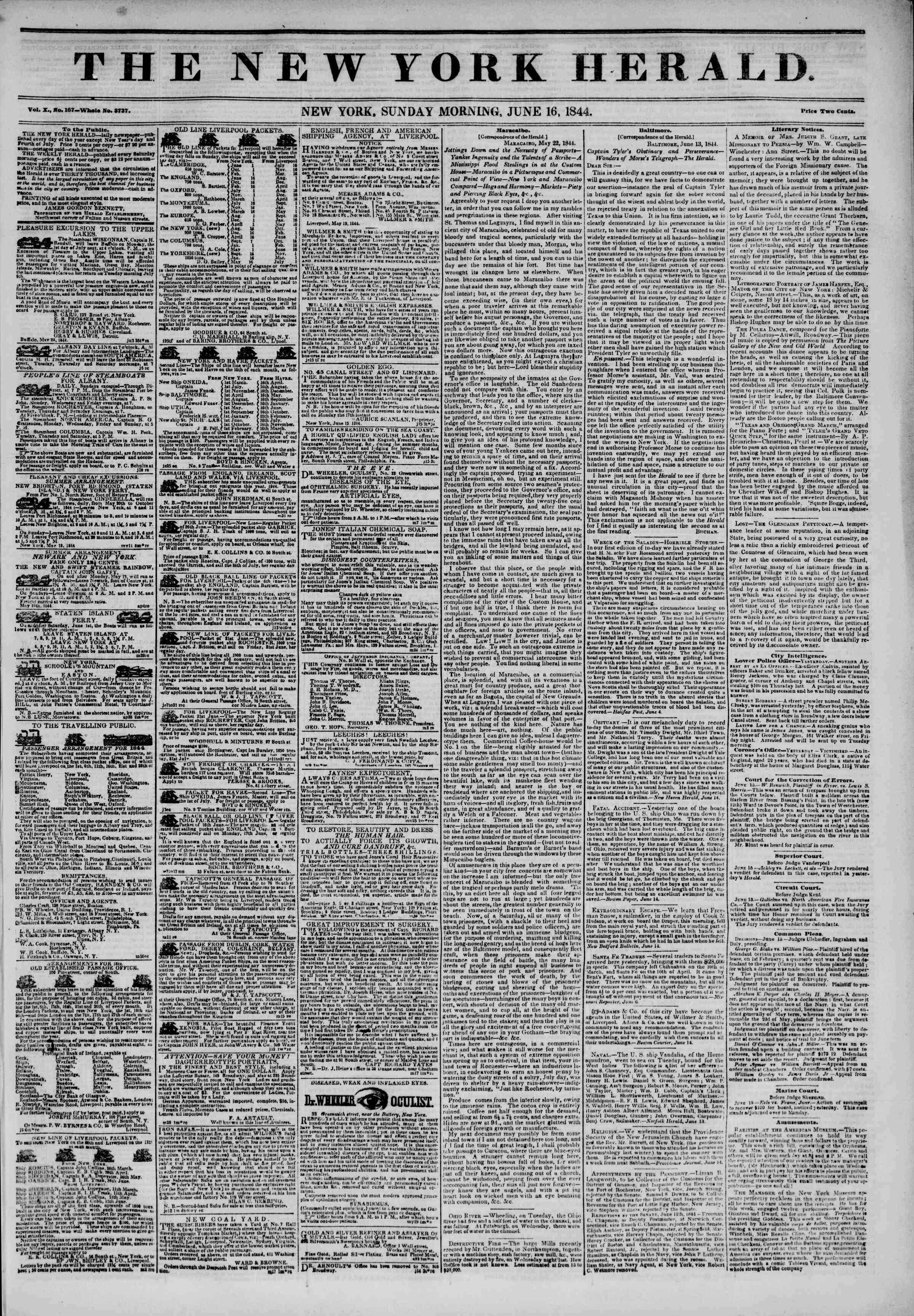 June 16, 1844 Tarihli The New York Herald Gazetesi Sayfa 1