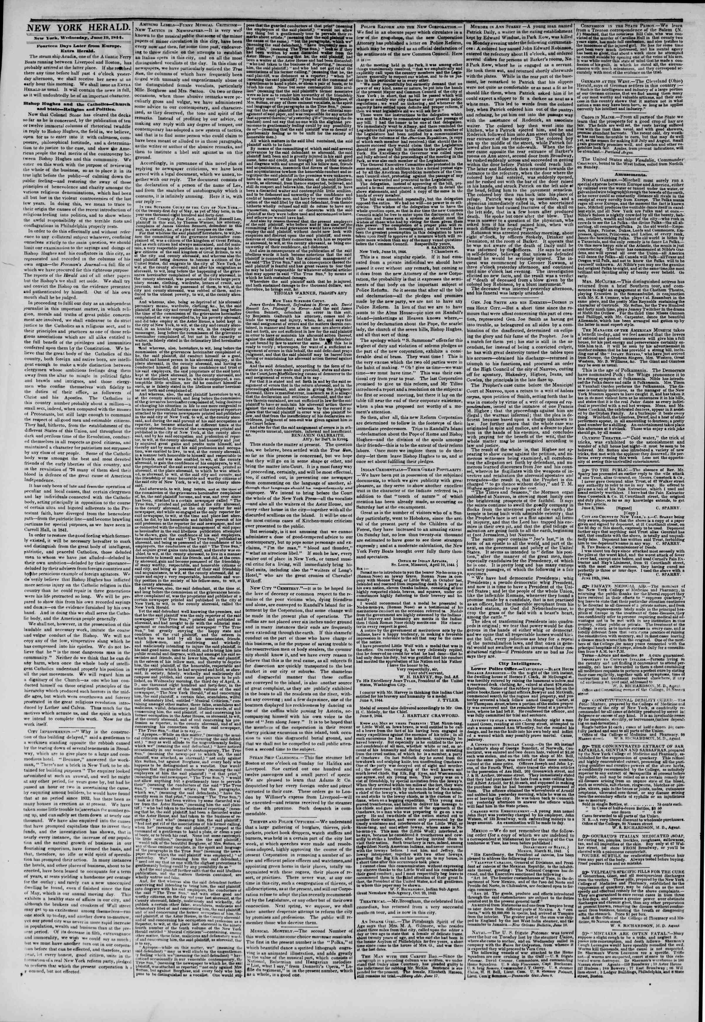 Newspaper of The New York Herald dated June 19, 1844 Page 2