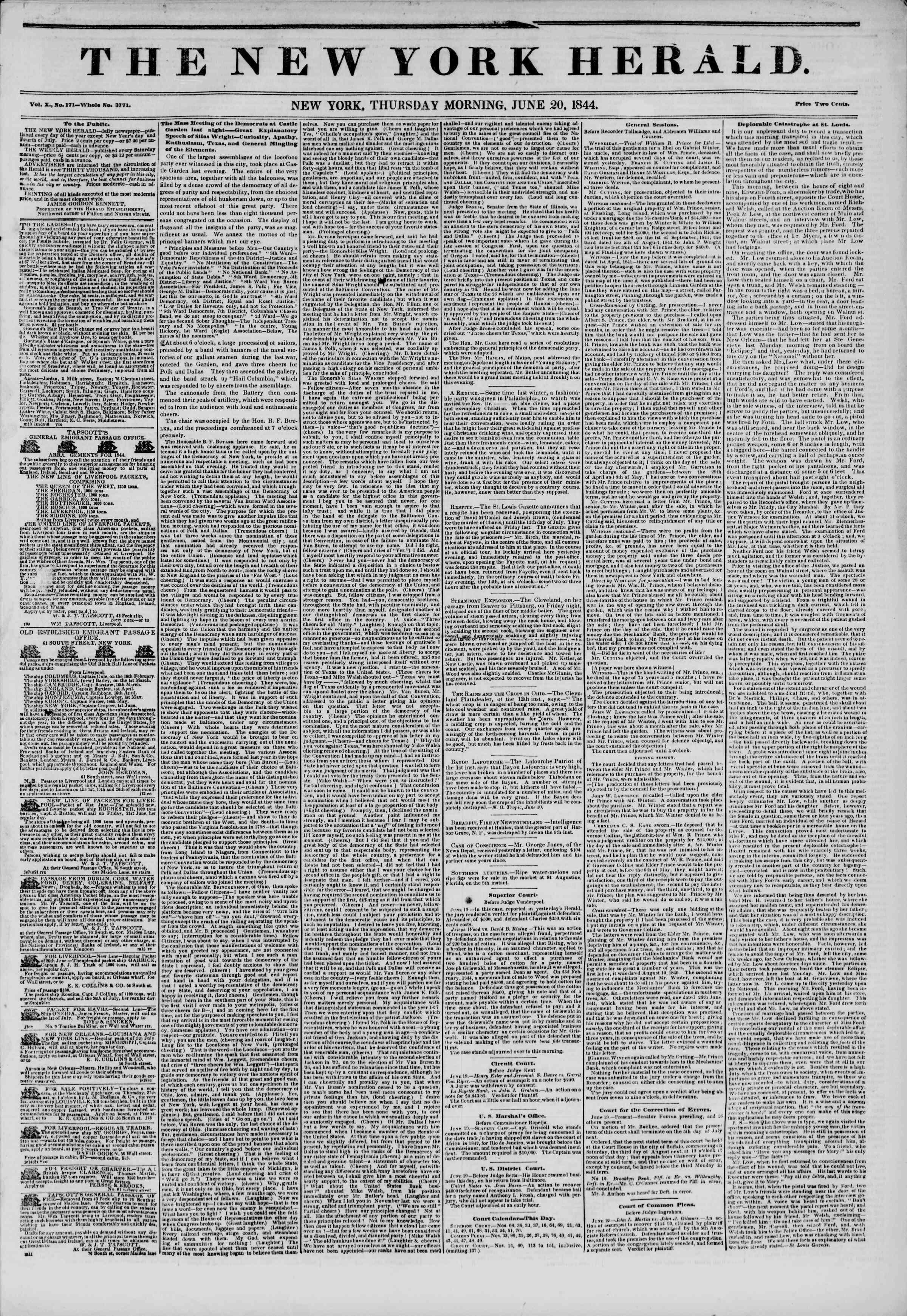 June 20, 1844 Tarihli The New York Herald Gazetesi Sayfa 1