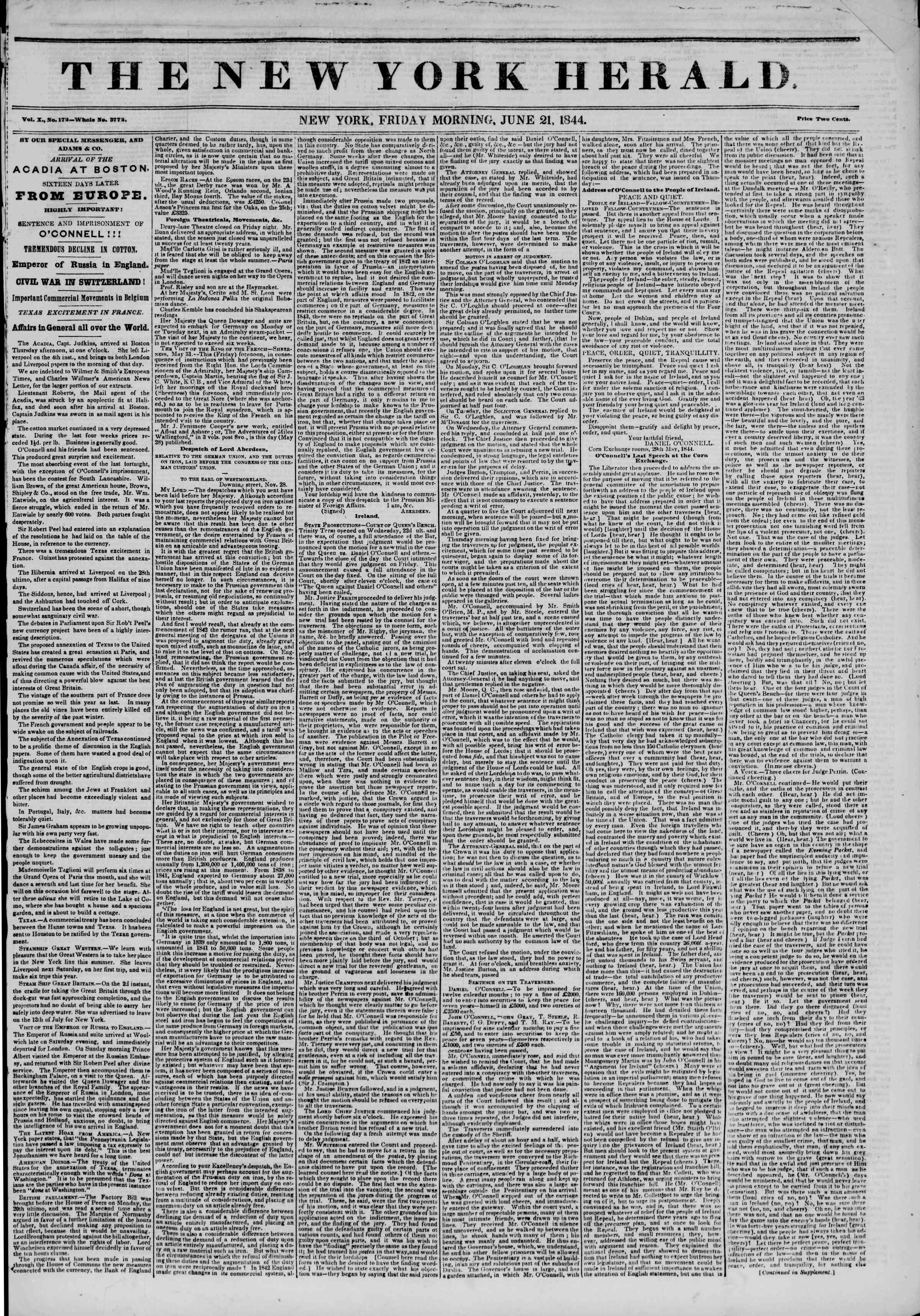 June 21, 1844 Tarihli The New York Herald Gazetesi Sayfa 1