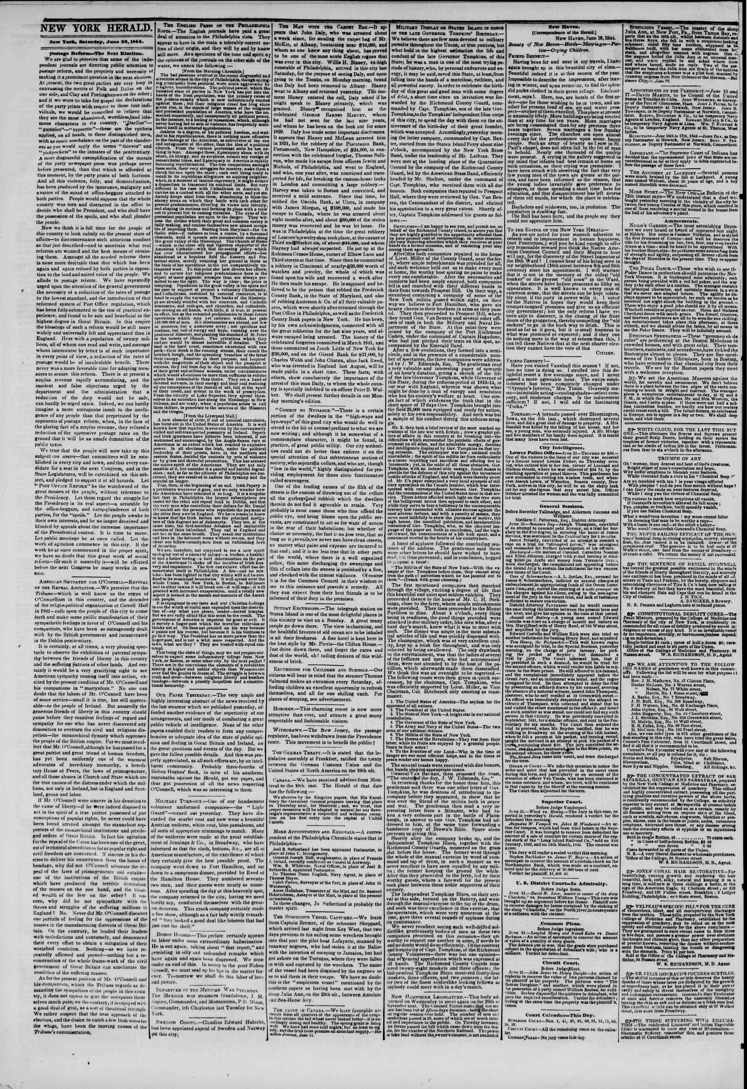 June 22, 1844 Tarihli The New York Herald Gazetesi Sayfa 2