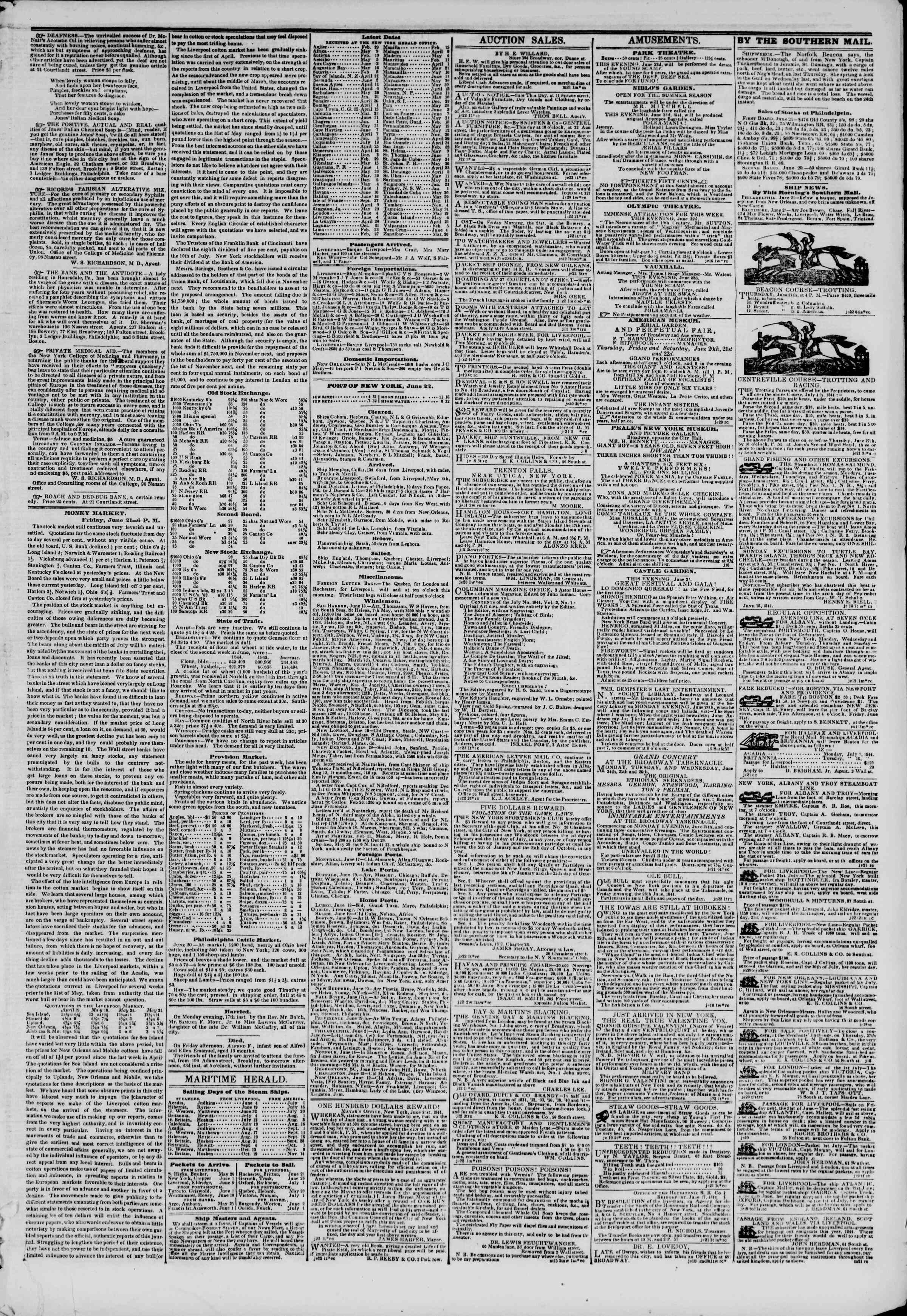 Newspaper of The New York Herald dated June 22, 1844 Page 3