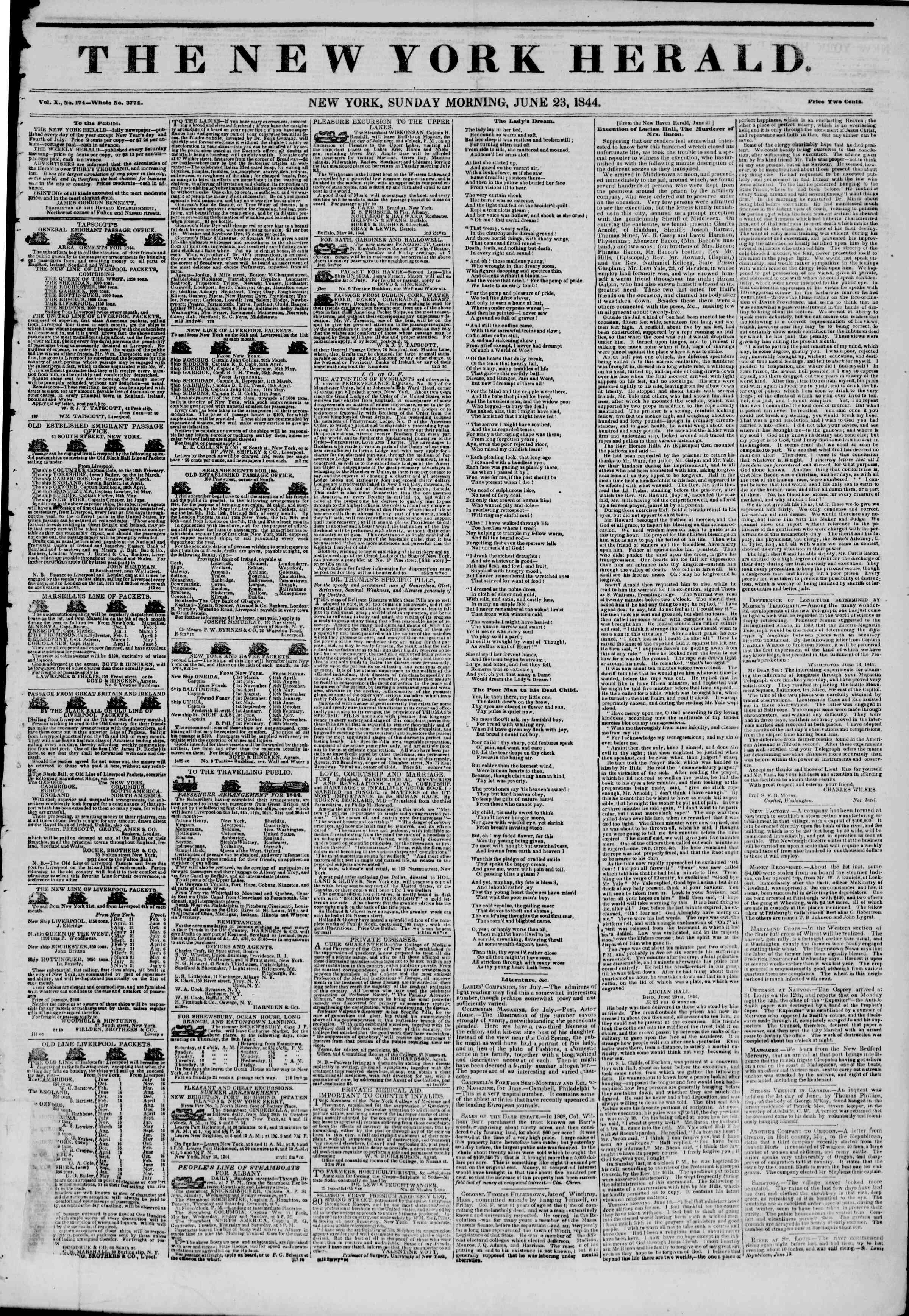 Newspaper of The New York Herald dated June 23, 1844 Page 1