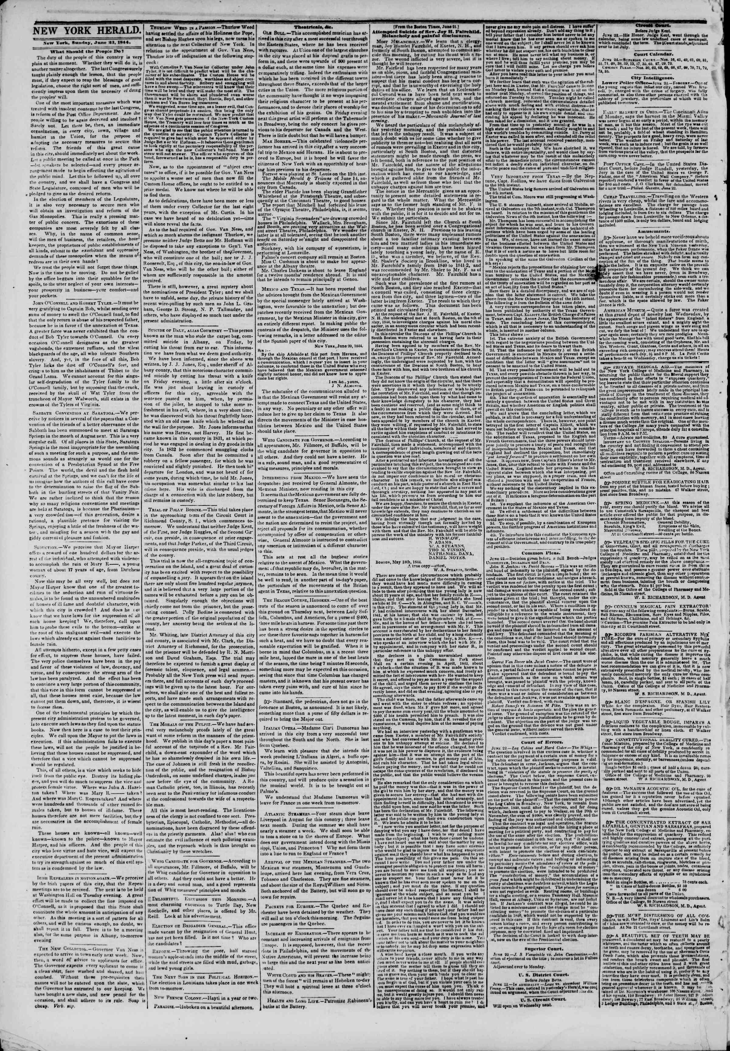 Newspaper of The New York Herald dated June 23, 1844 Page 2