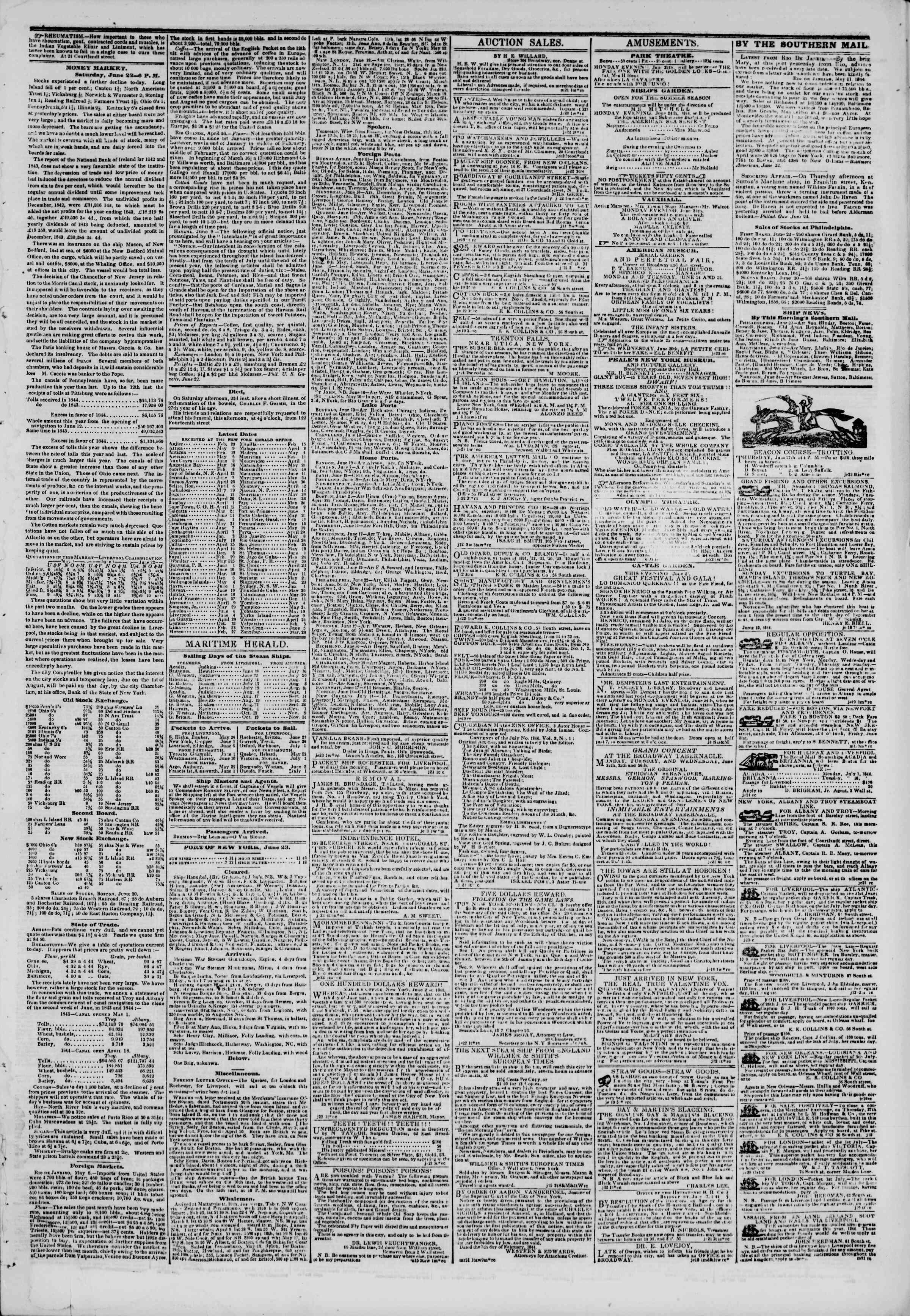 June 23, 1844 Tarihli The New York Herald Gazetesi Sayfa 3