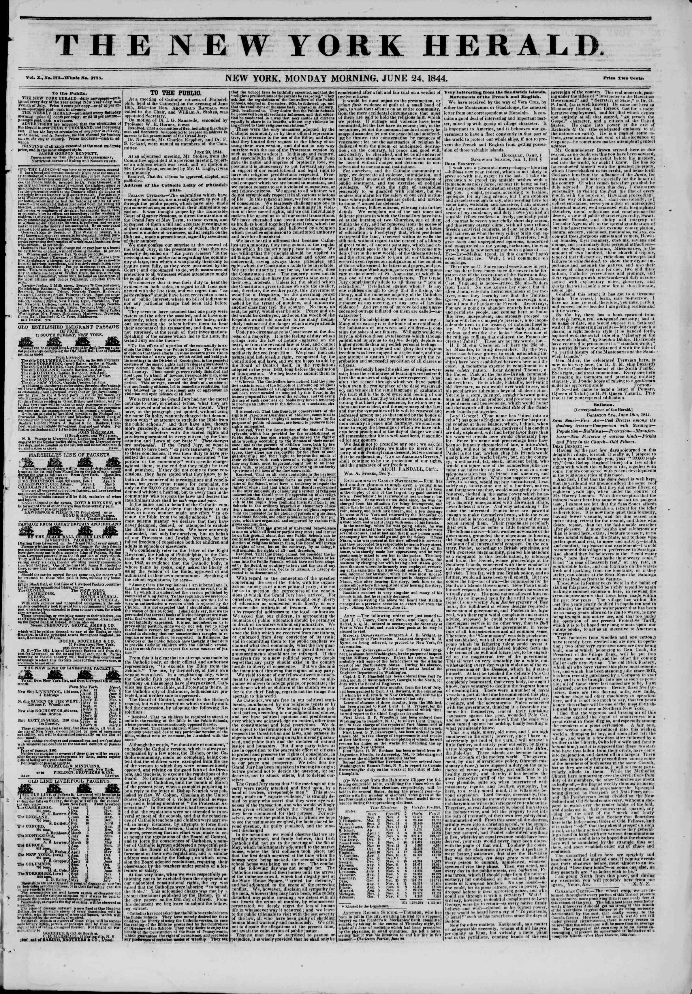 June 24, 1844 Tarihli The New York Herald Gazetesi Sayfa 1
