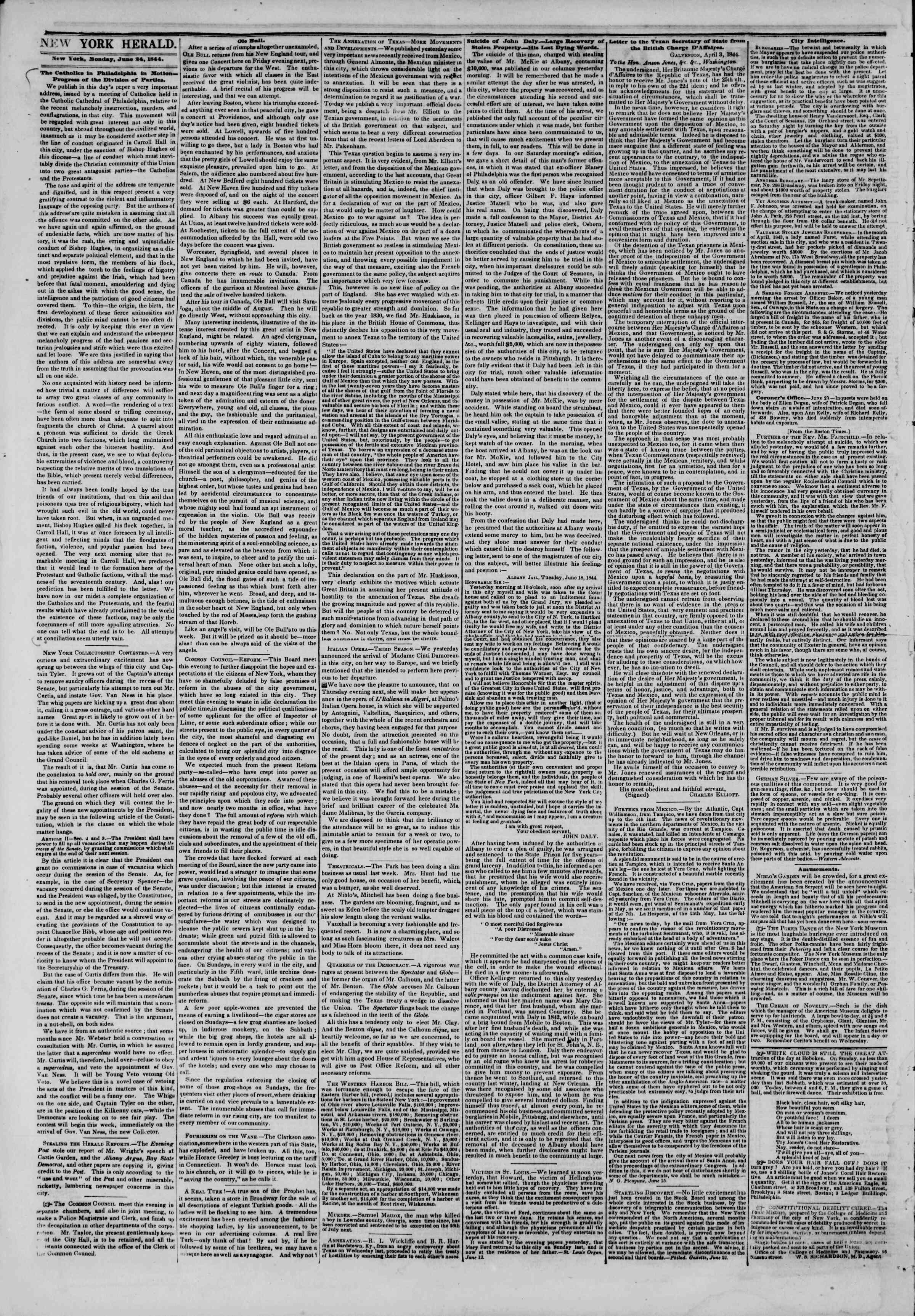 June 24, 1844 Tarihli The New York Herald Gazetesi Sayfa 2