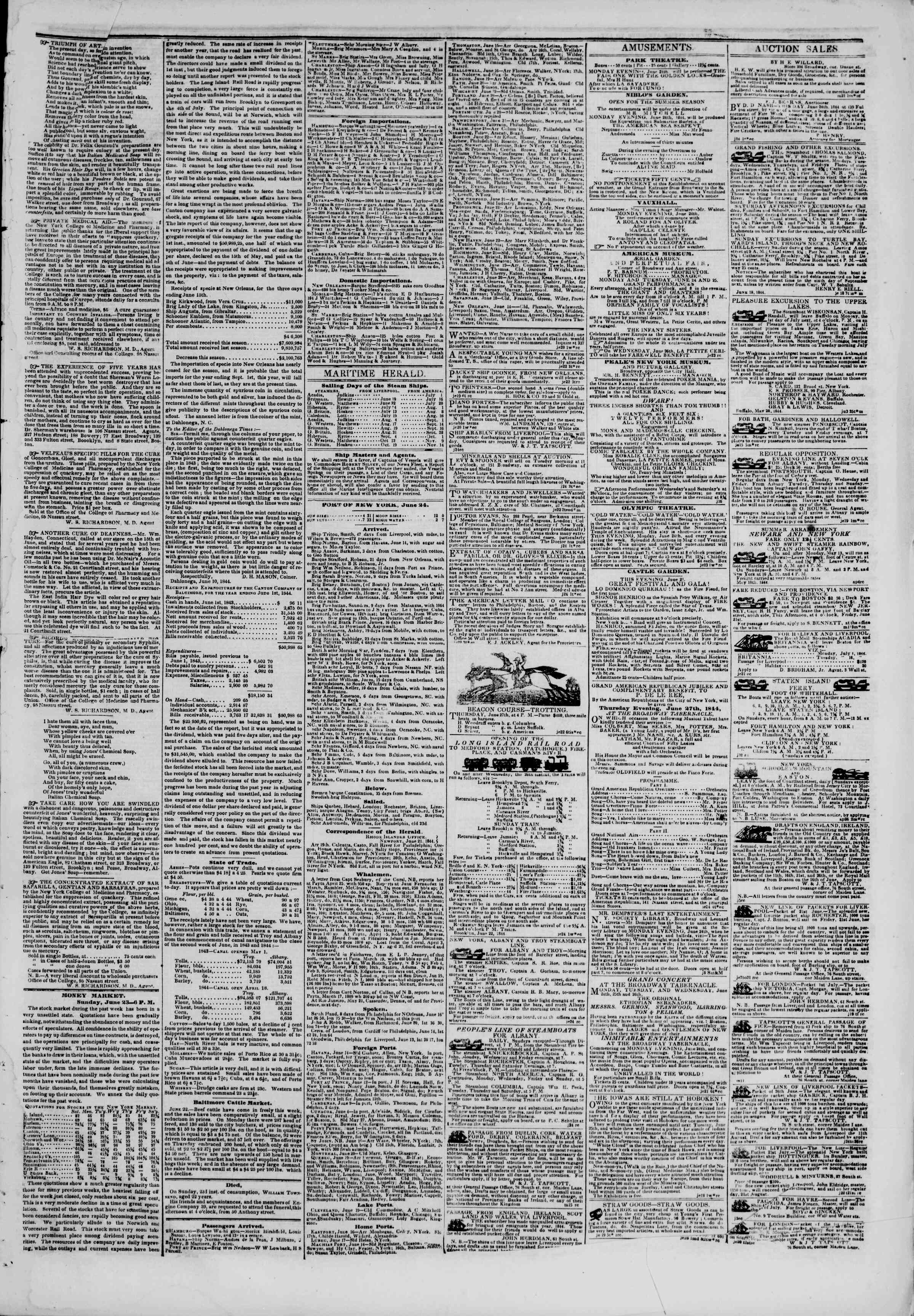 Newspaper of The New York Herald dated June 24, 1844 Page 3
