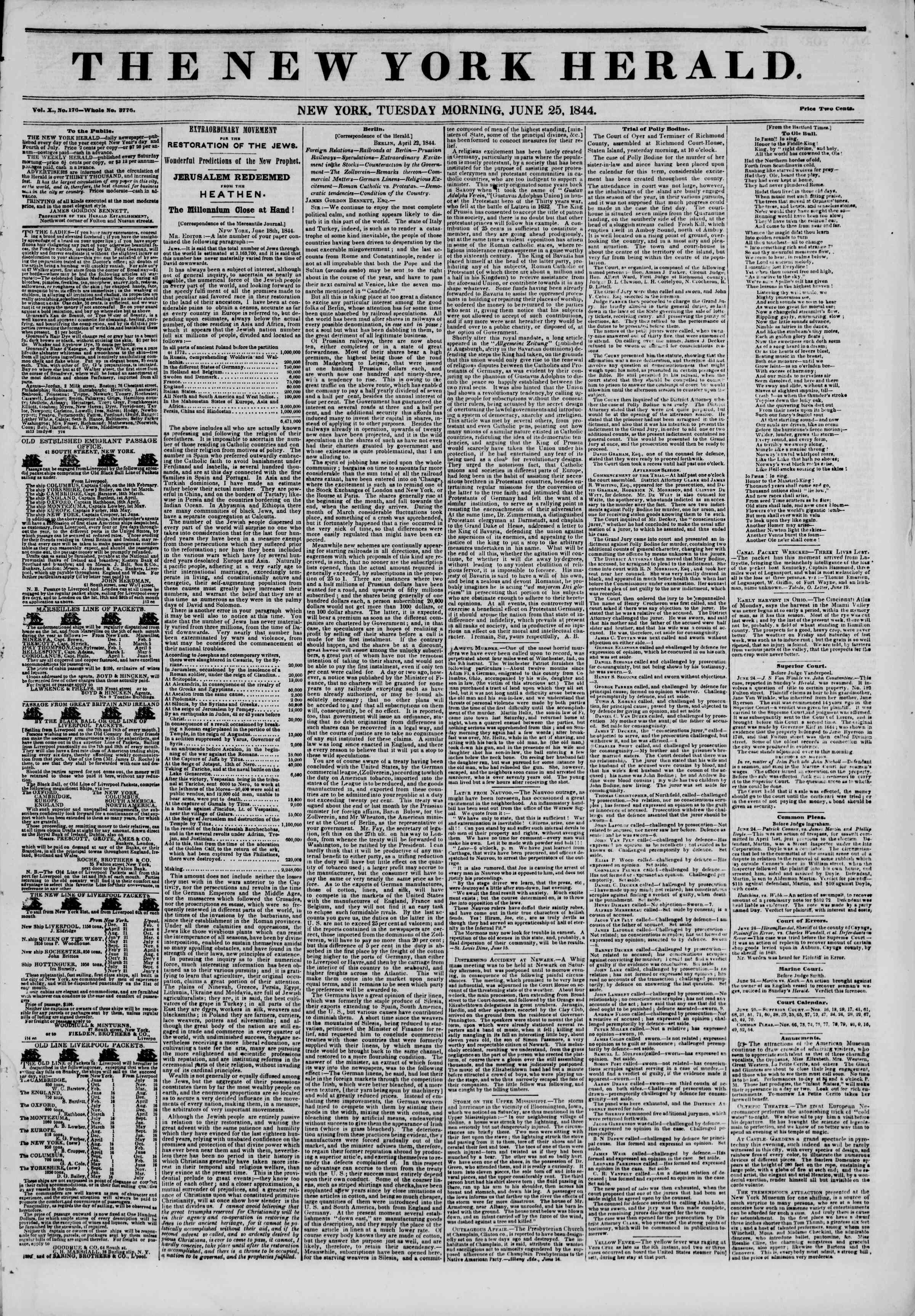 June 25, 1844 Tarihli The New York Herald Gazetesi Sayfa 1