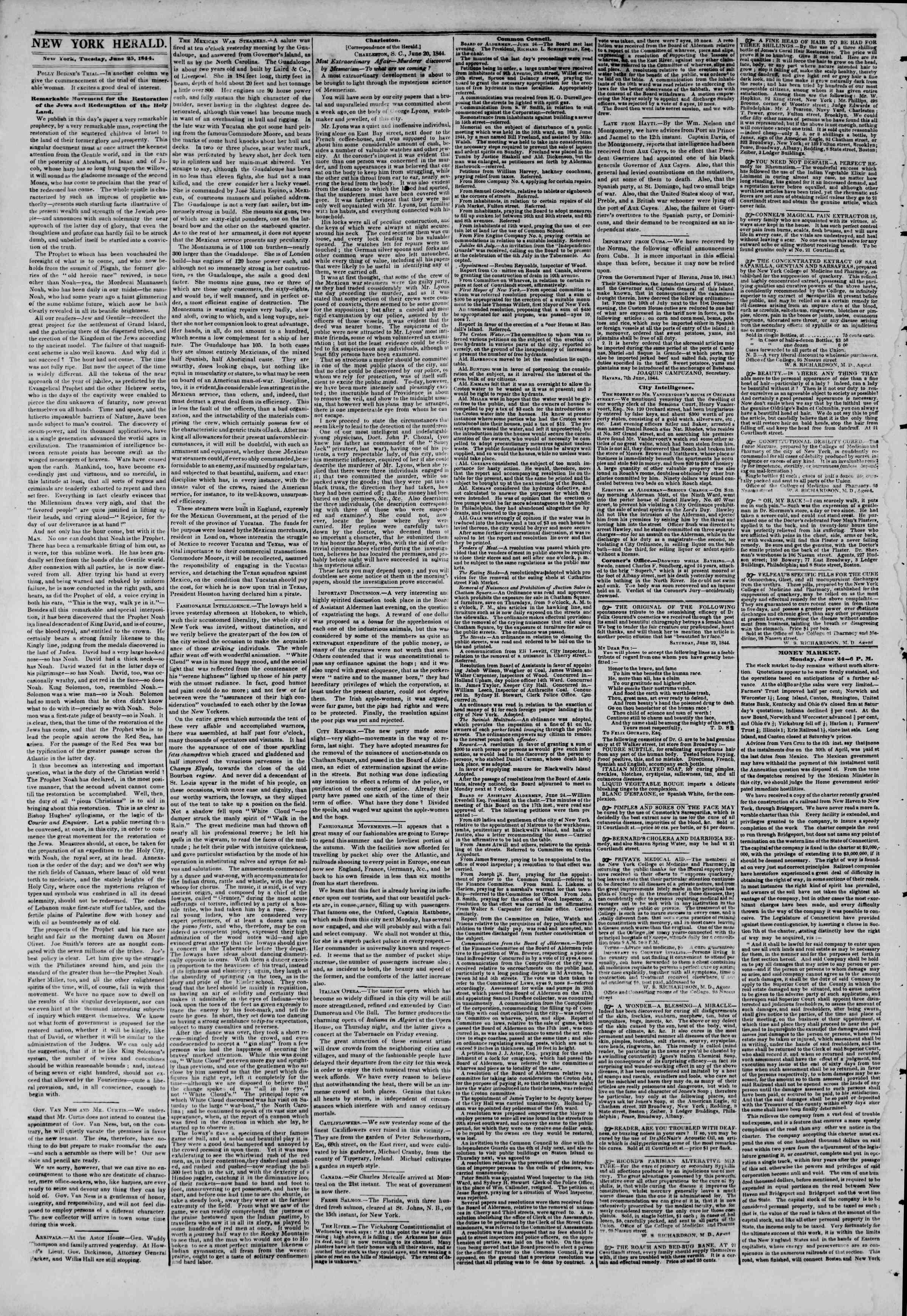 June 25, 1844 Tarihli The New York Herald Gazetesi Sayfa 2