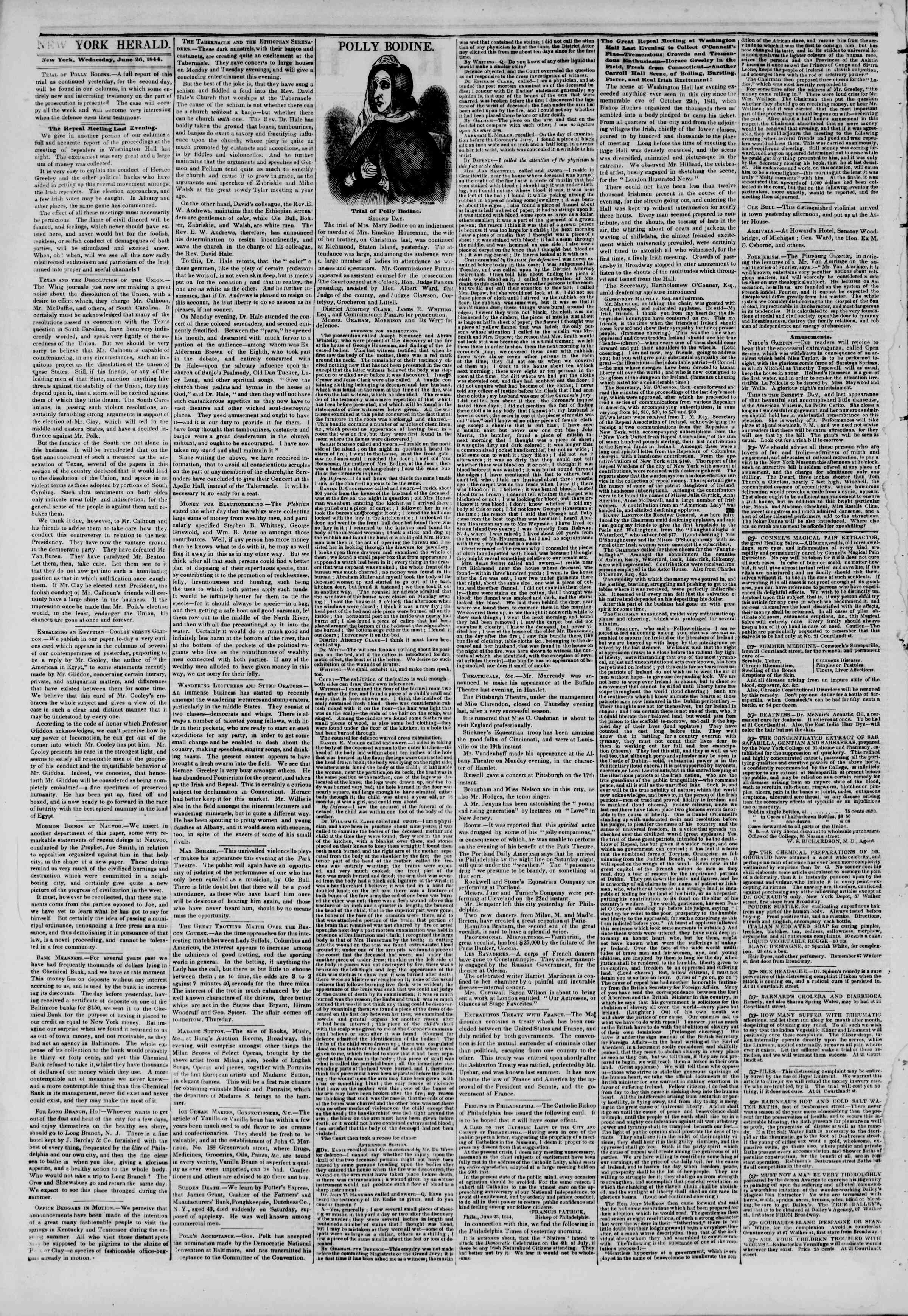 Newspaper of The New York Herald dated June 26, 1844 Page 2