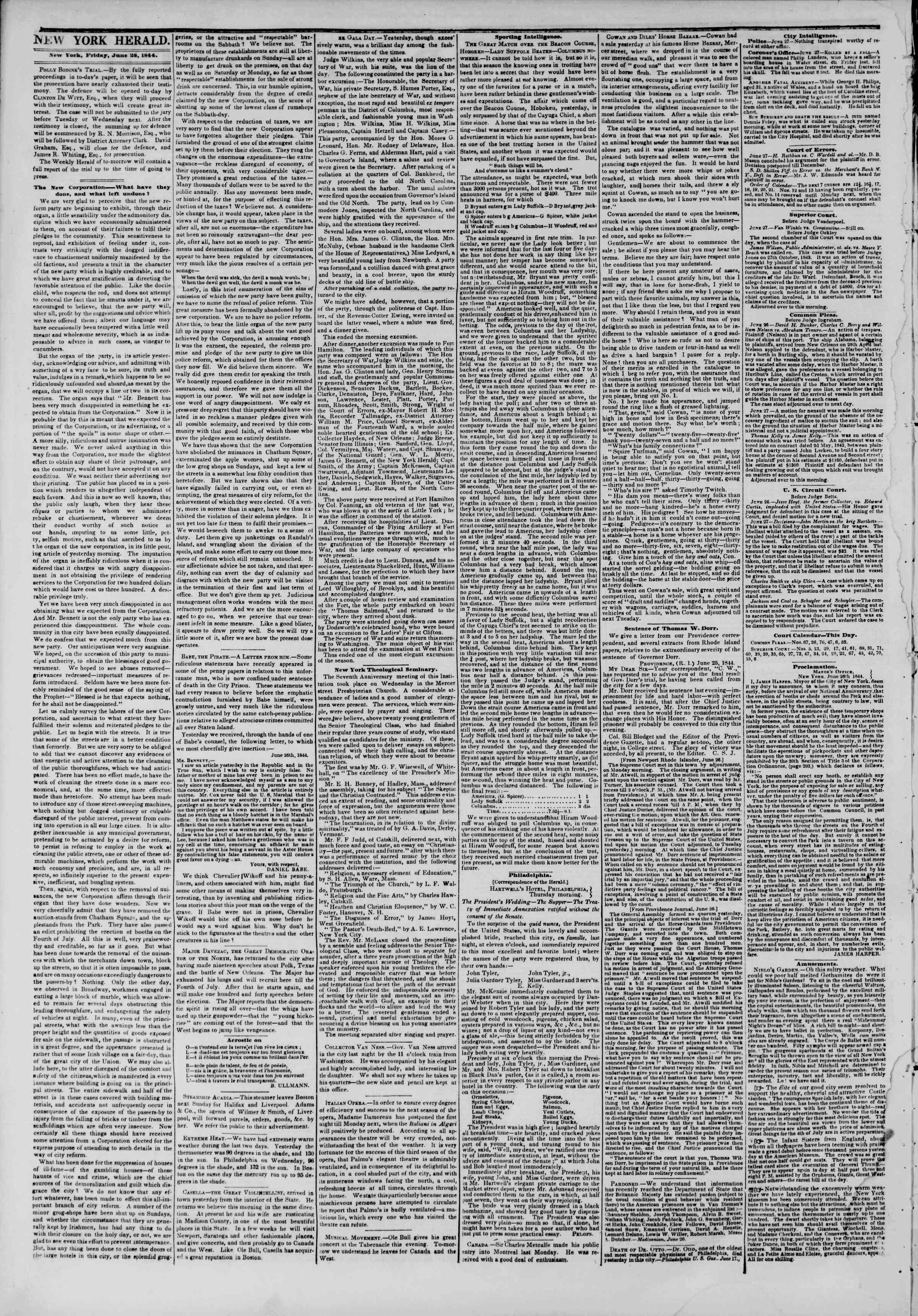 June 28, 1844 Tarihli The New York Herald Gazetesi Sayfa 2