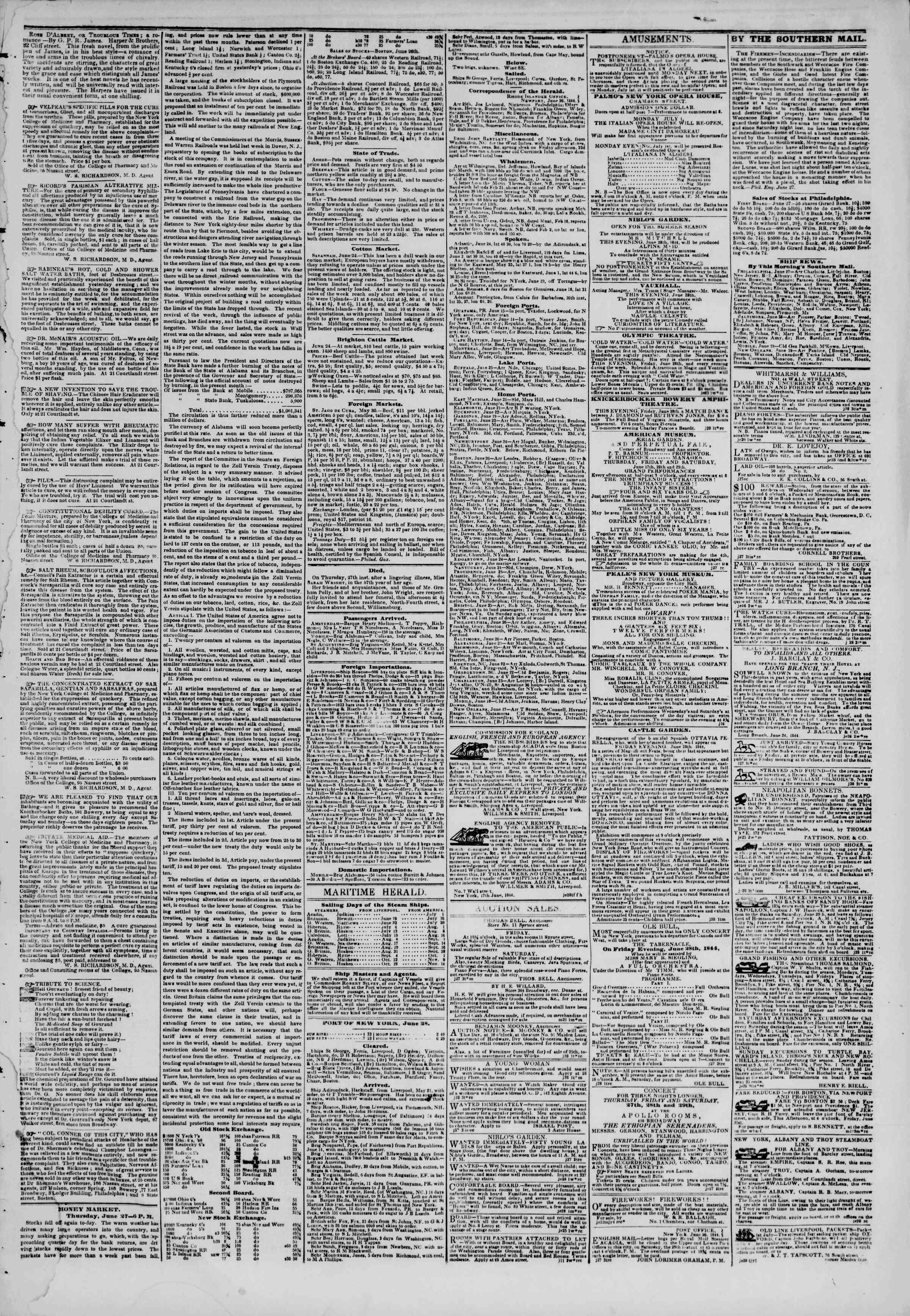 June 28, 1844 Tarihli The New York Herald Gazetesi Sayfa 3