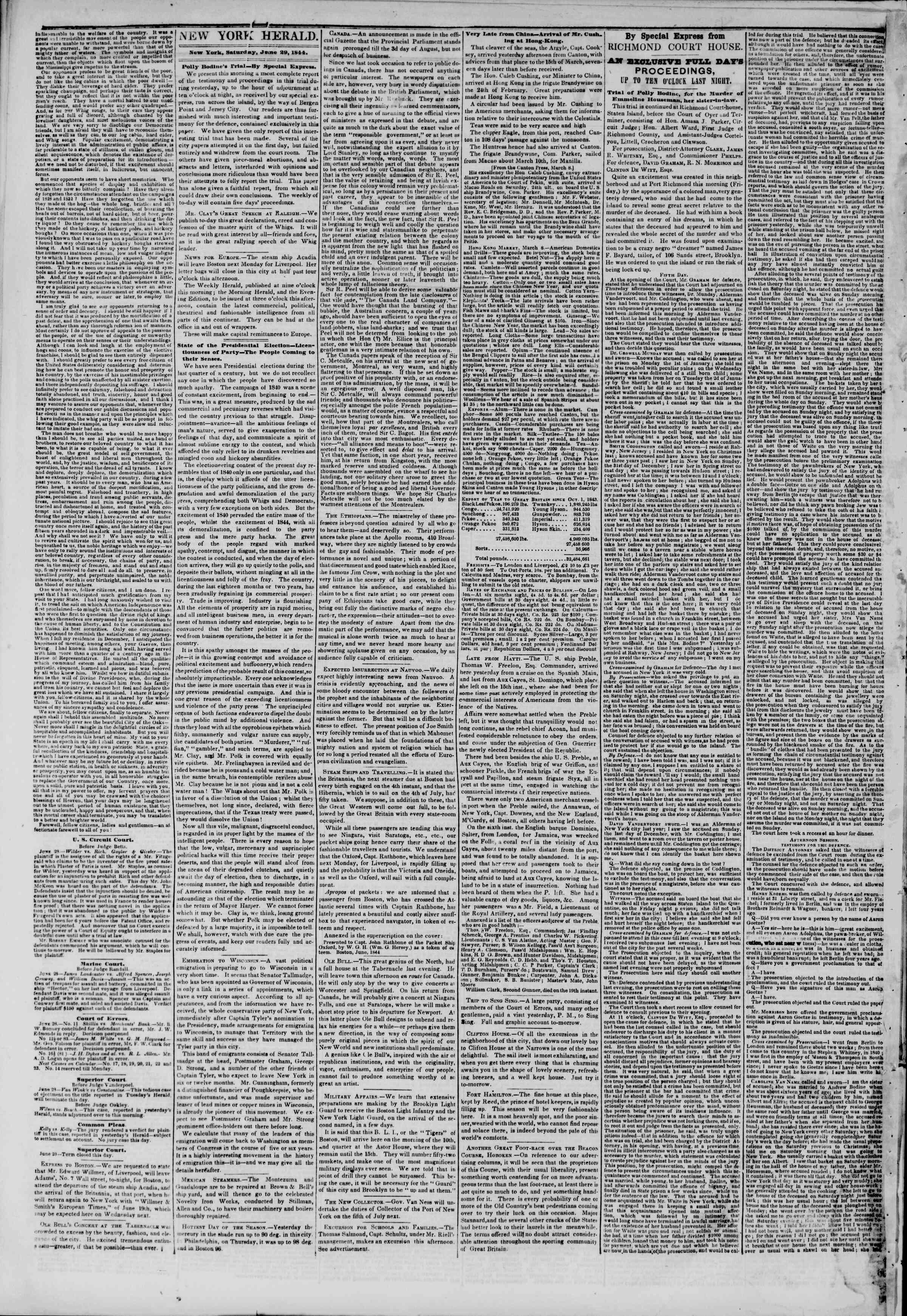 June 29, 1844 Tarihli The New York Herald Gazetesi Sayfa 2