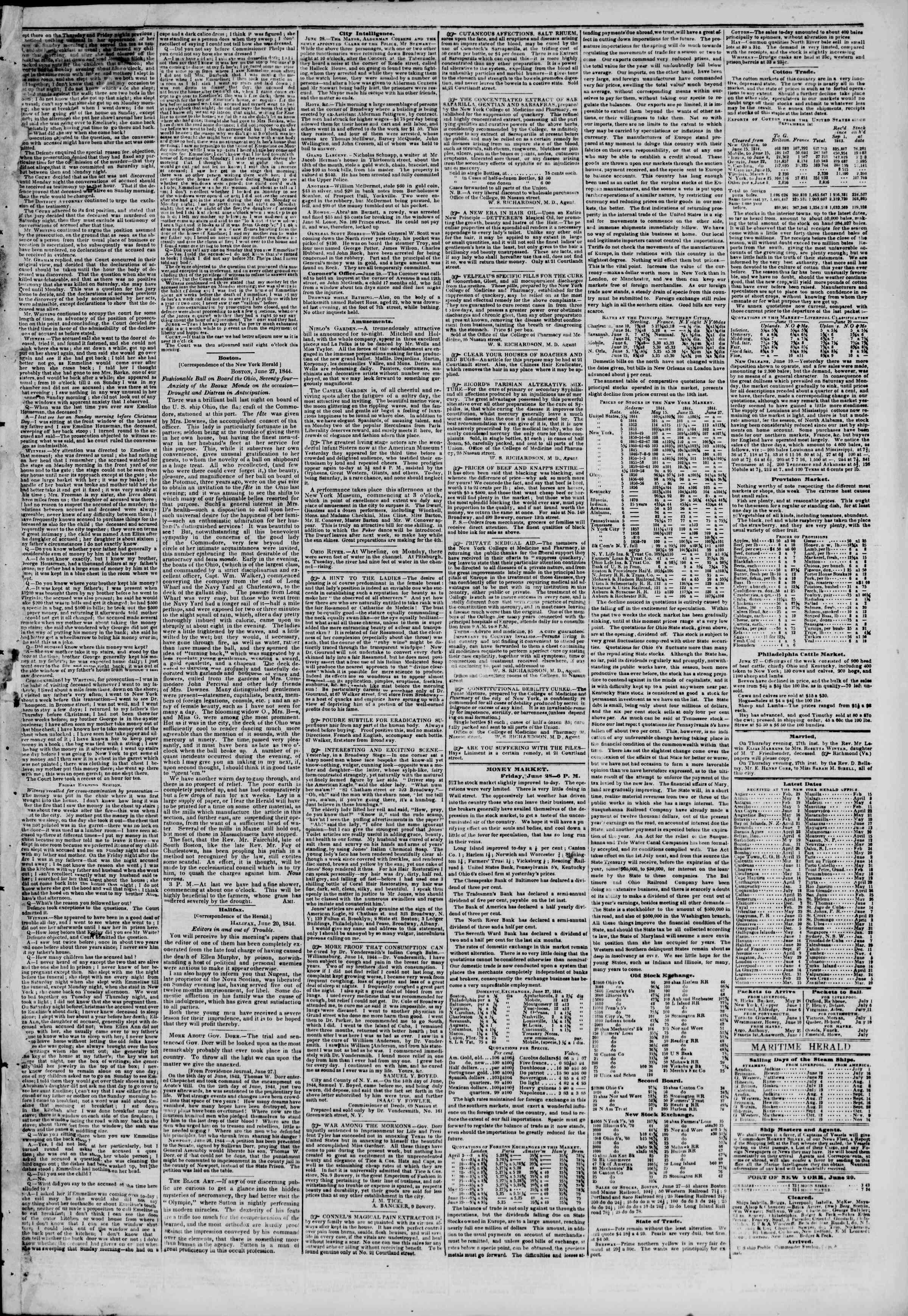 June 29, 1844 Tarihli The New York Herald Gazetesi Sayfa 3