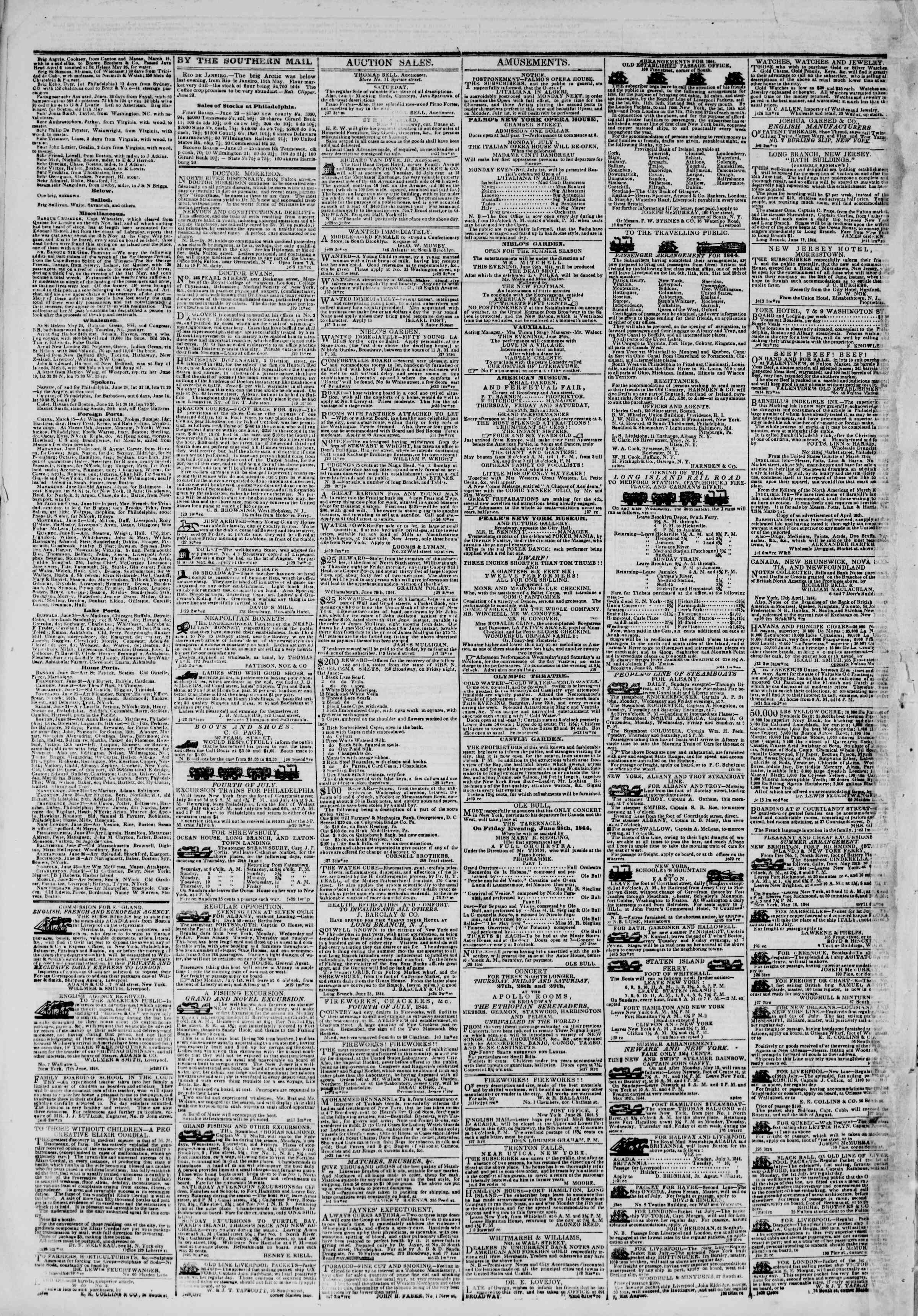 Newspaper of The New York Herald dated June 29, 1844 Page 4