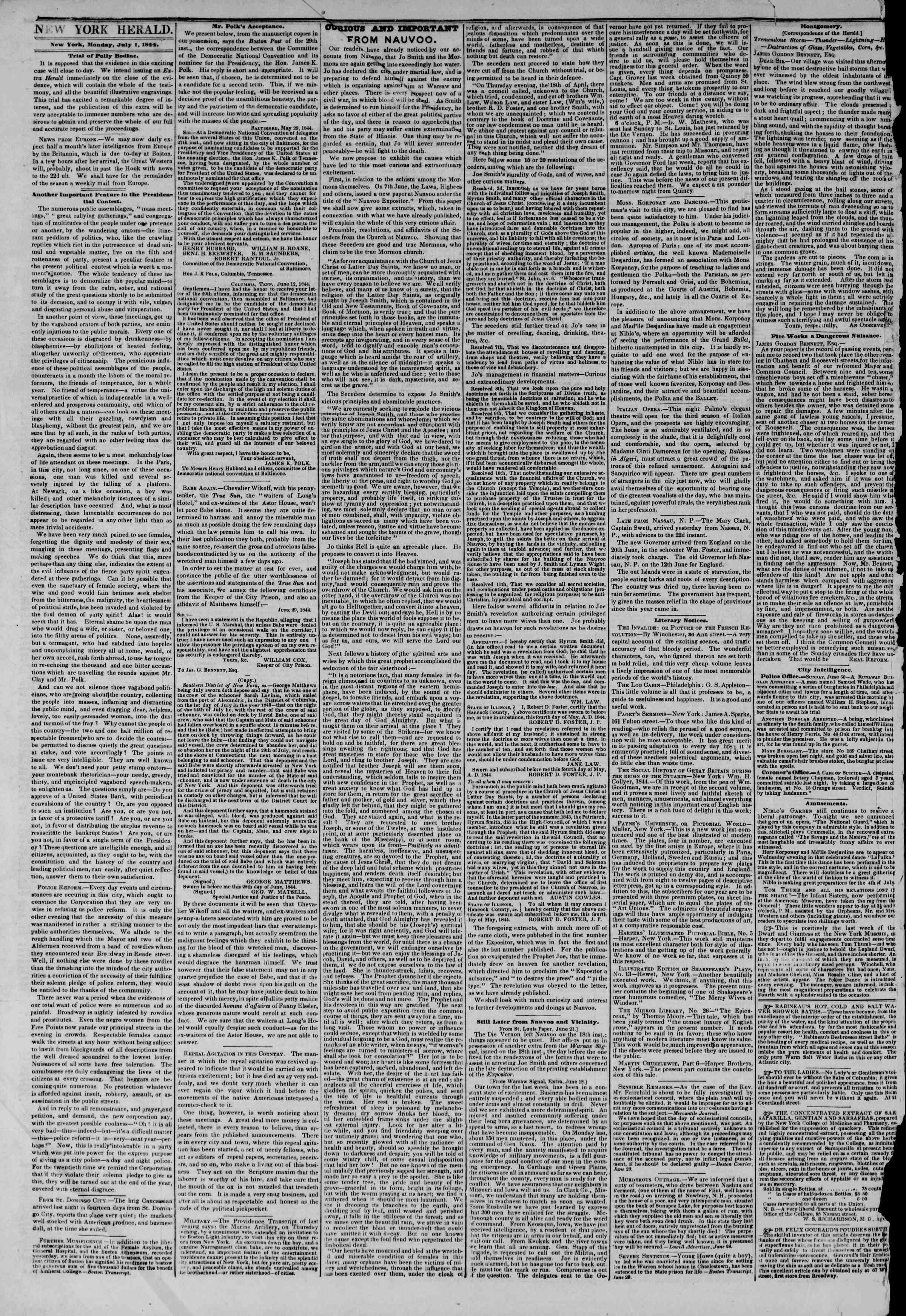 Newspaper of The New York Herald dated July 1, 1844 Page 2