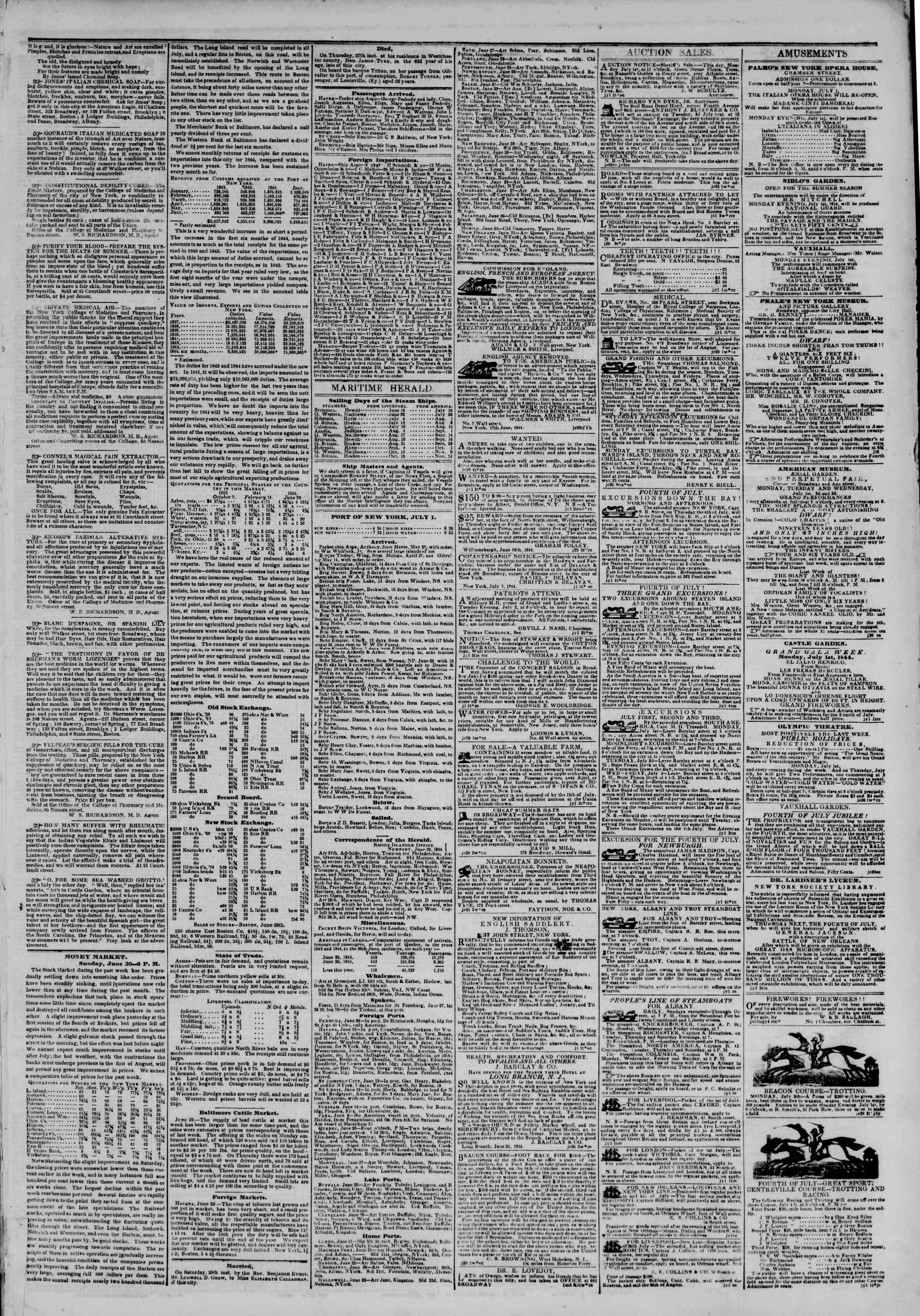 July 1, 1844 Tarihli The New York Herald Gazetesi Sayfa 3
