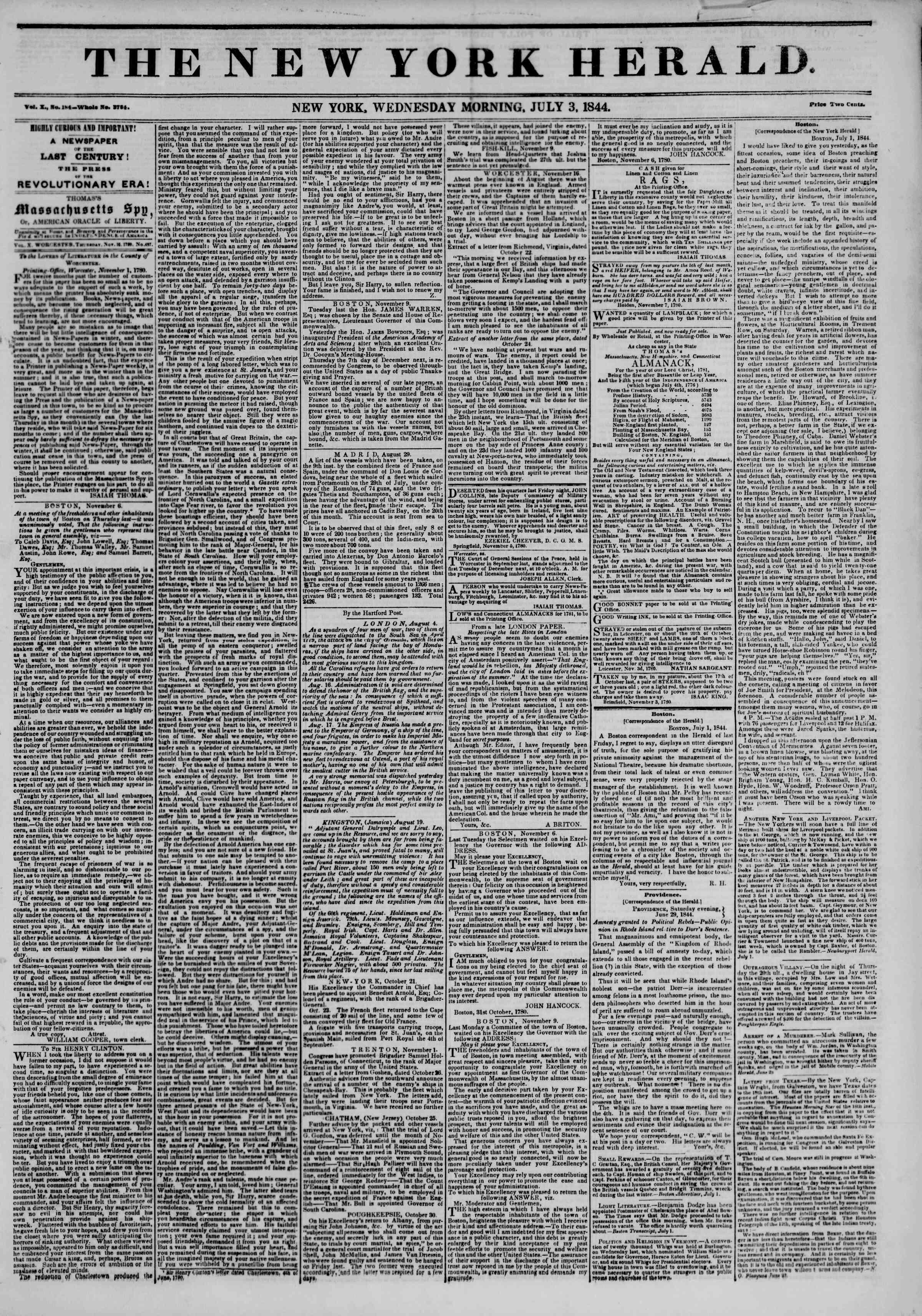 July 3, 1844 Tarihli The New York Herald Gazetesi Sayfa 1
