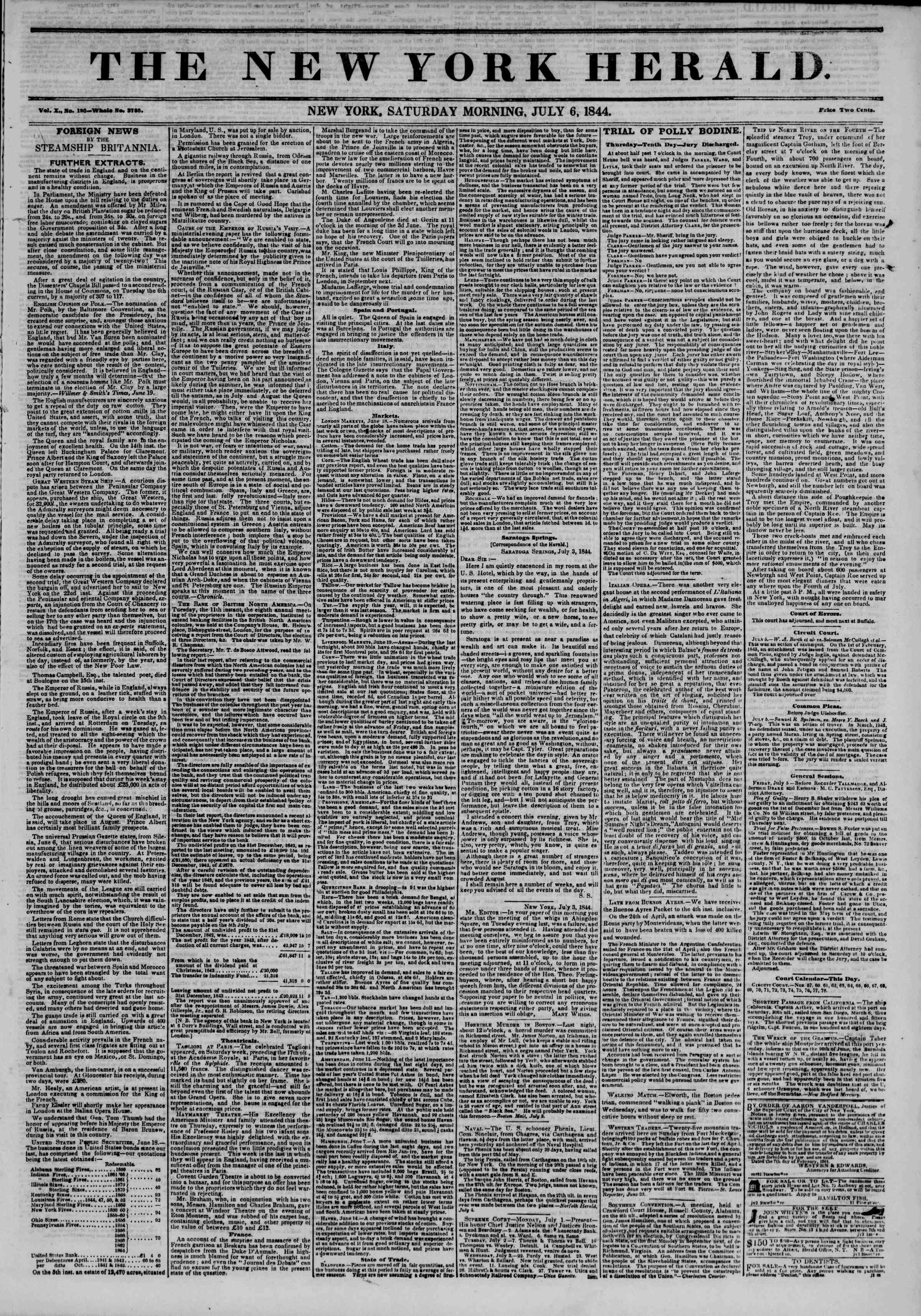 July 6, 1844 Tarihli The New York Herald Gazetesi Sayfa 1