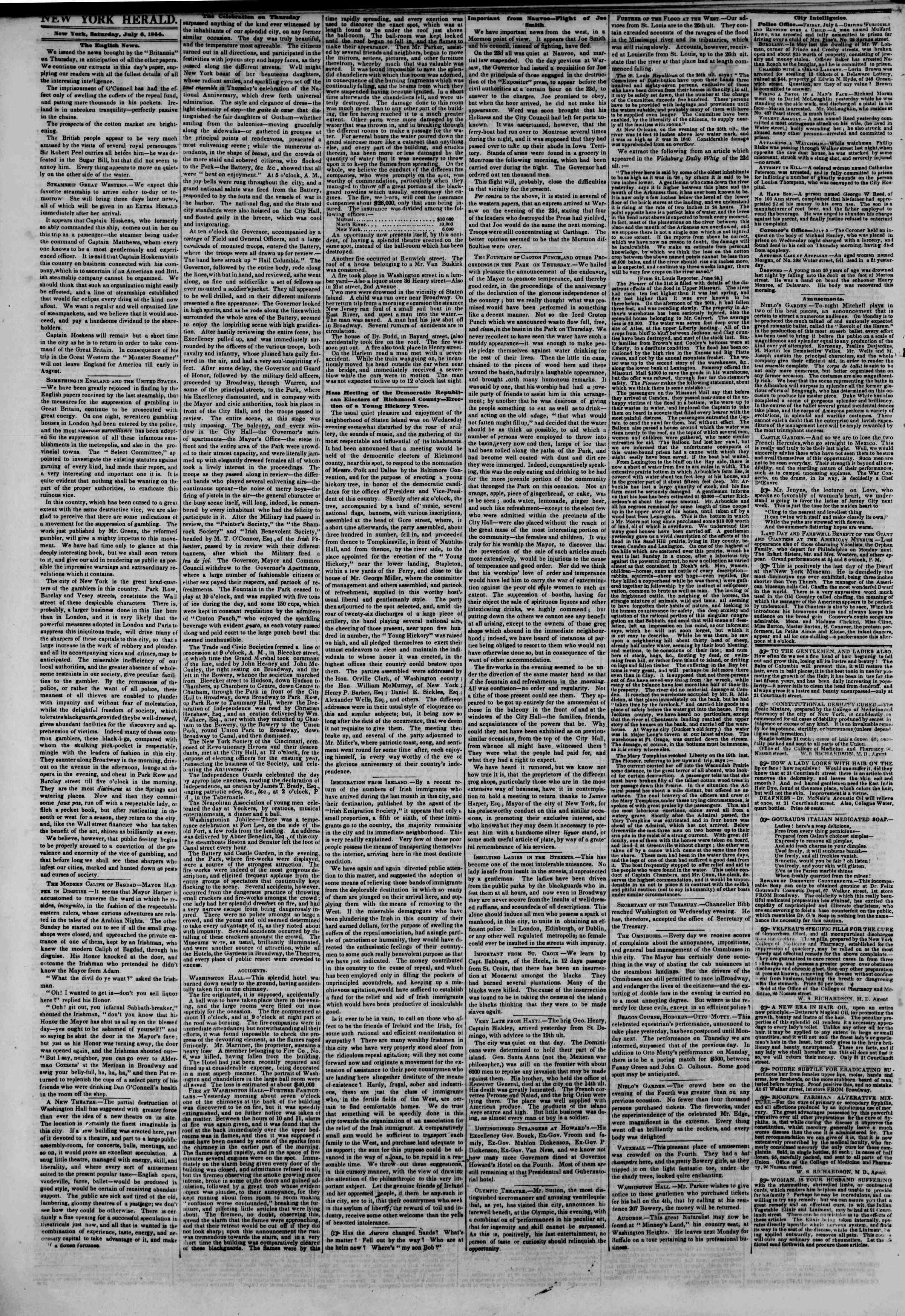 Newspaper of The New York Herald dated July 6, 1844 Page 2