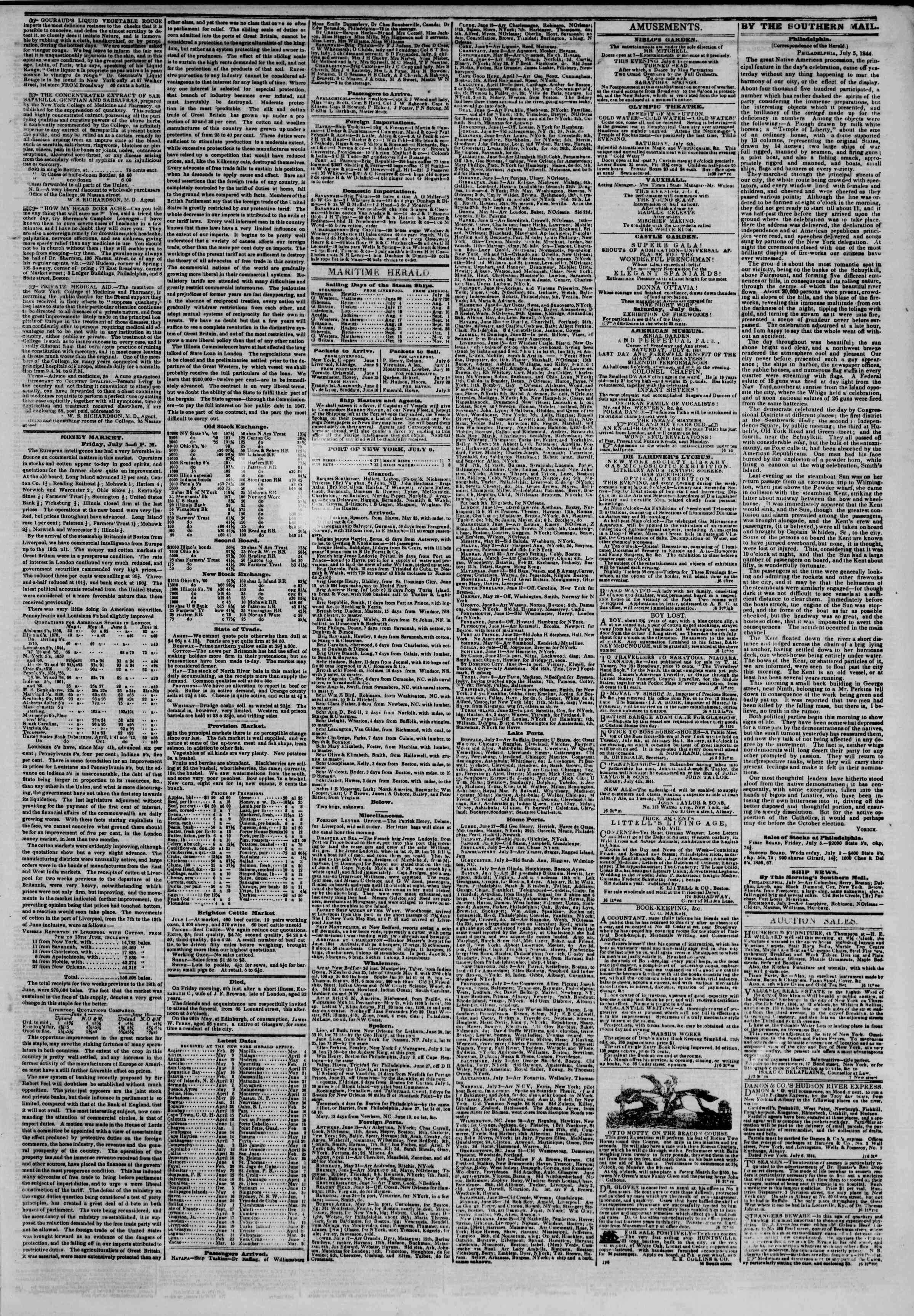 Newspaper of The New York Herald dated July 6, 1844 Page 3