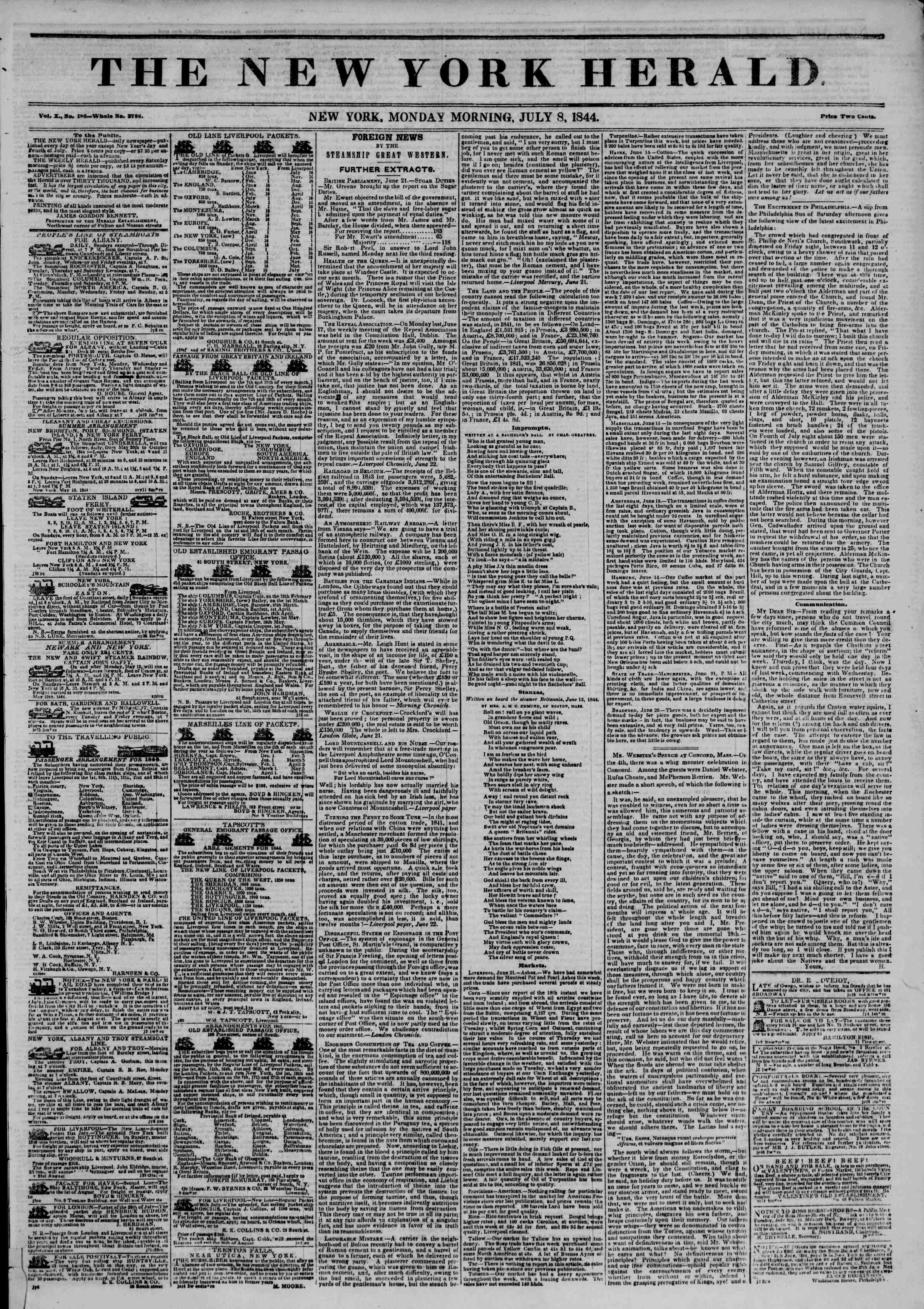 Newspaper of The New York Herald dated July 8, 1844 Page 1